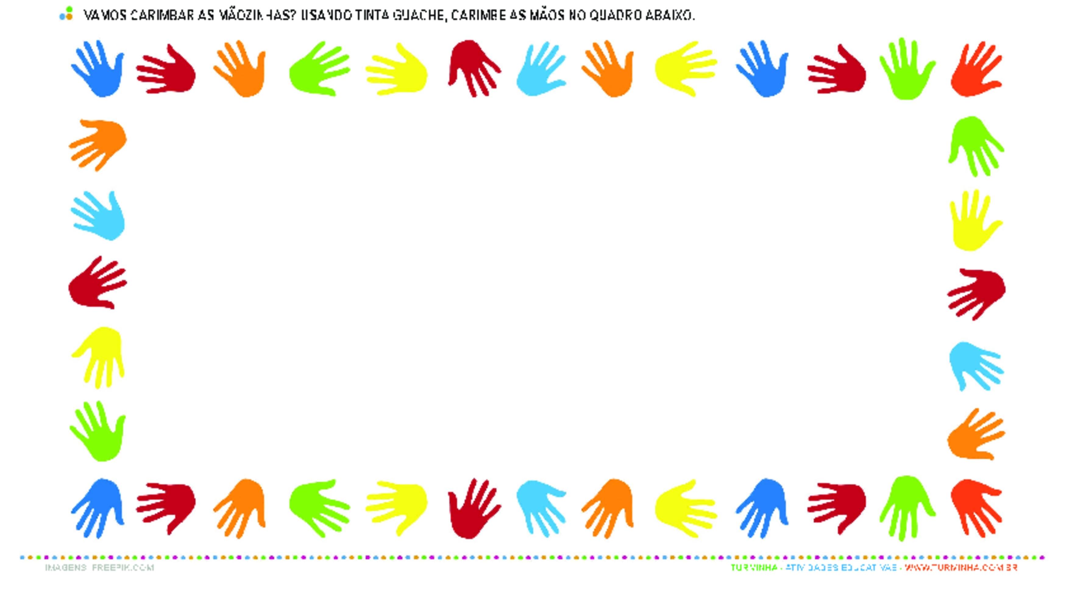 Carimbando as Mãos - atividade educativa para Creche (0 a 3 anos)