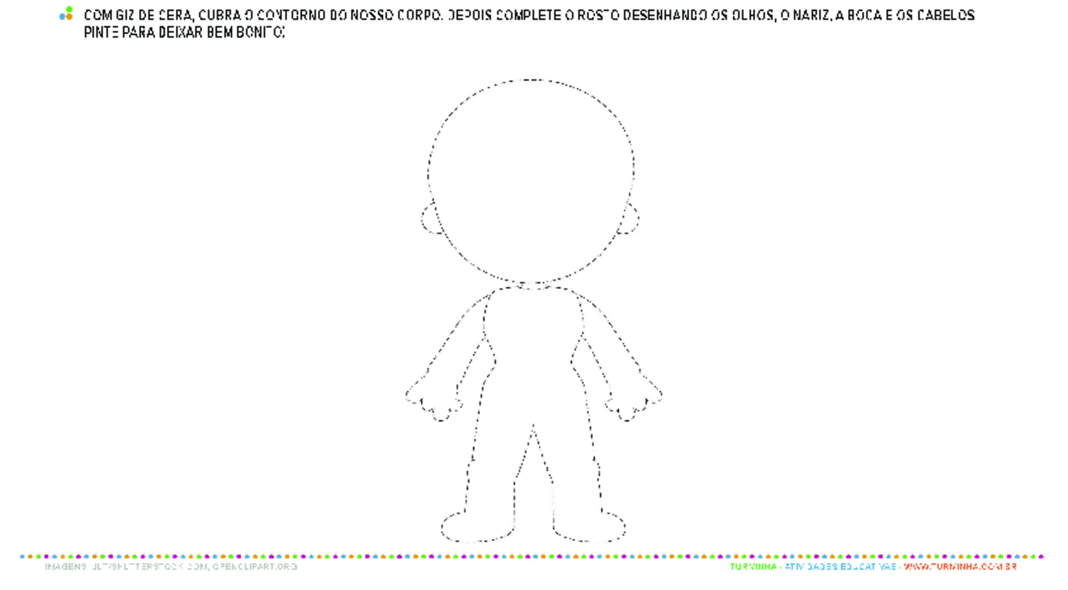 Contorno do Corpo Humano - atividade educativa para Creche (0 a 3 anos)