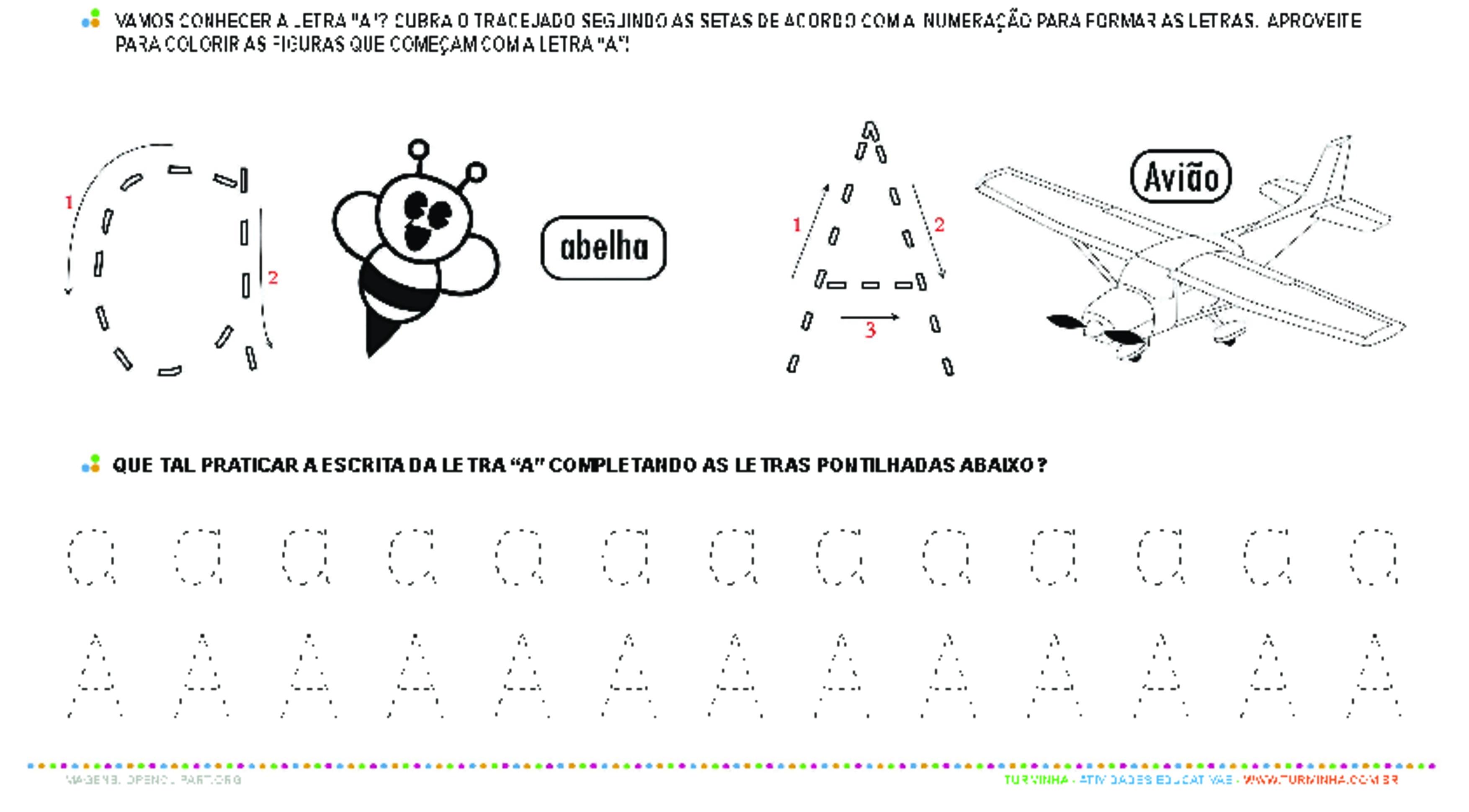 Letra A de forma maiúscula e minúscula - atividade educativa para Pré-Escola (4 e 5 anos)