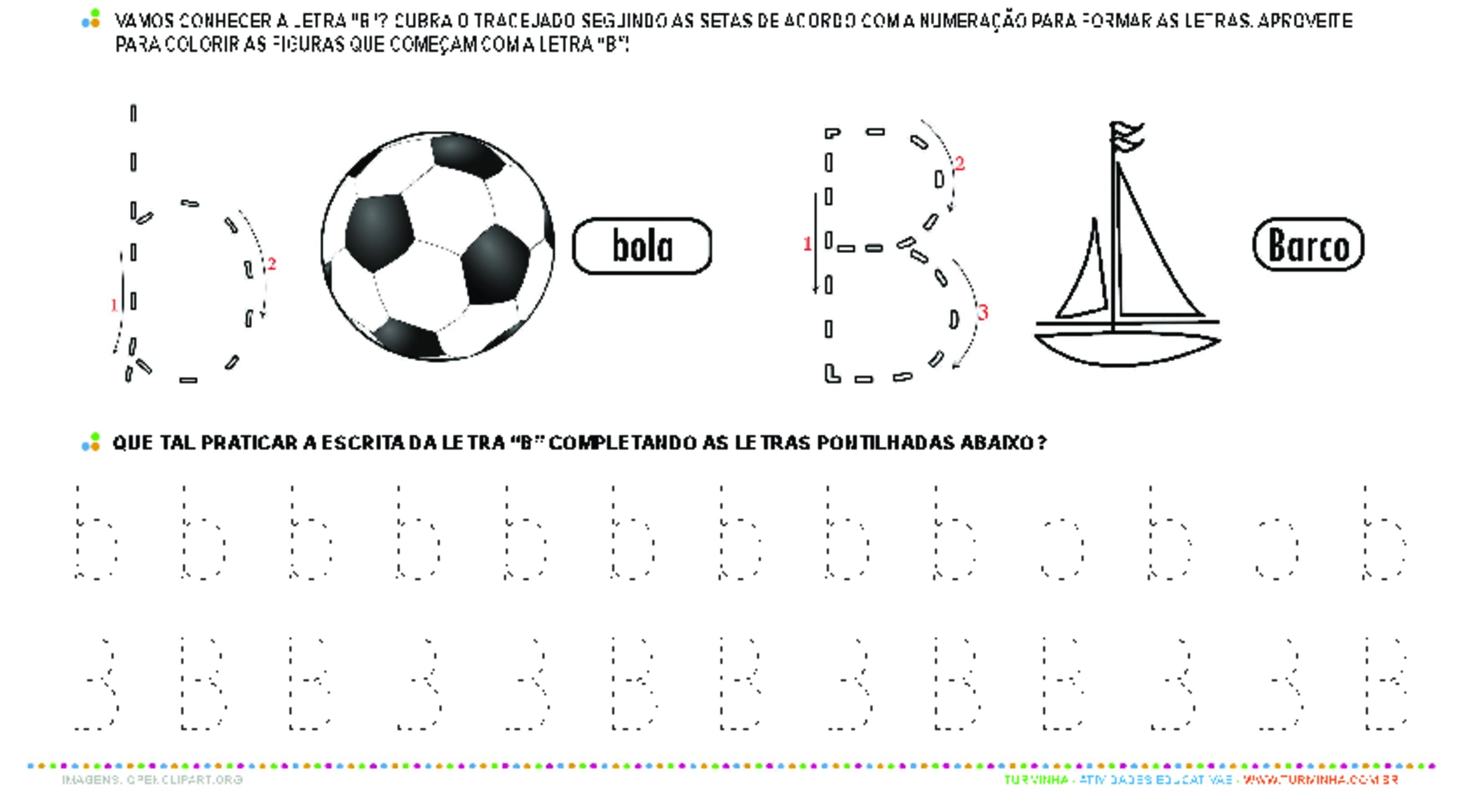 Letra B de forma maiúscula e minúscula - atividade educativa para Pré-Escola (4 e 5 anos)