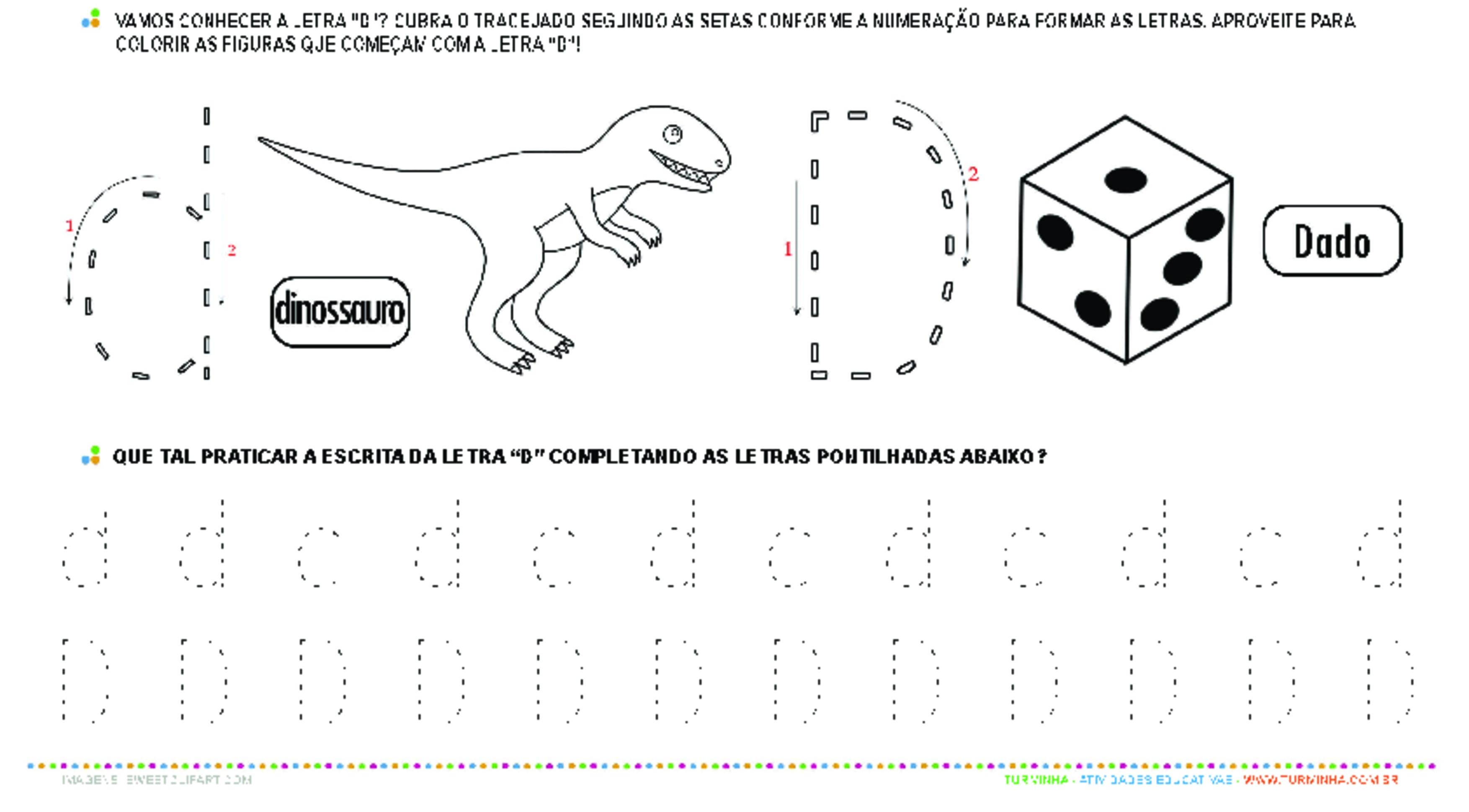 Letra D de forma maiúscula e minúscula - atividade educativa para Pré-Escola (4 e 5 anos)