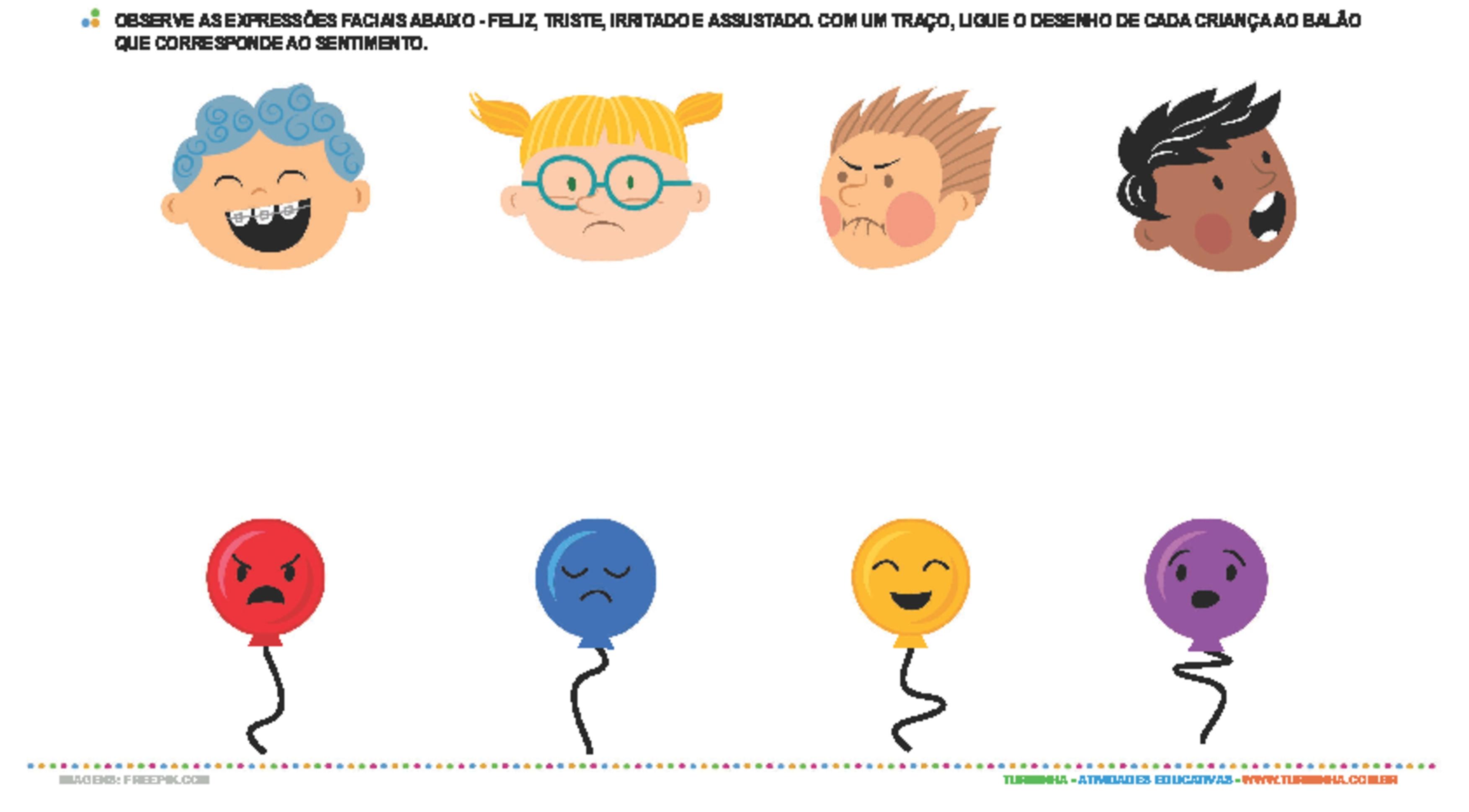 Expressões de sentimentos - atividade educativa para Creche (0 a 3 anos)