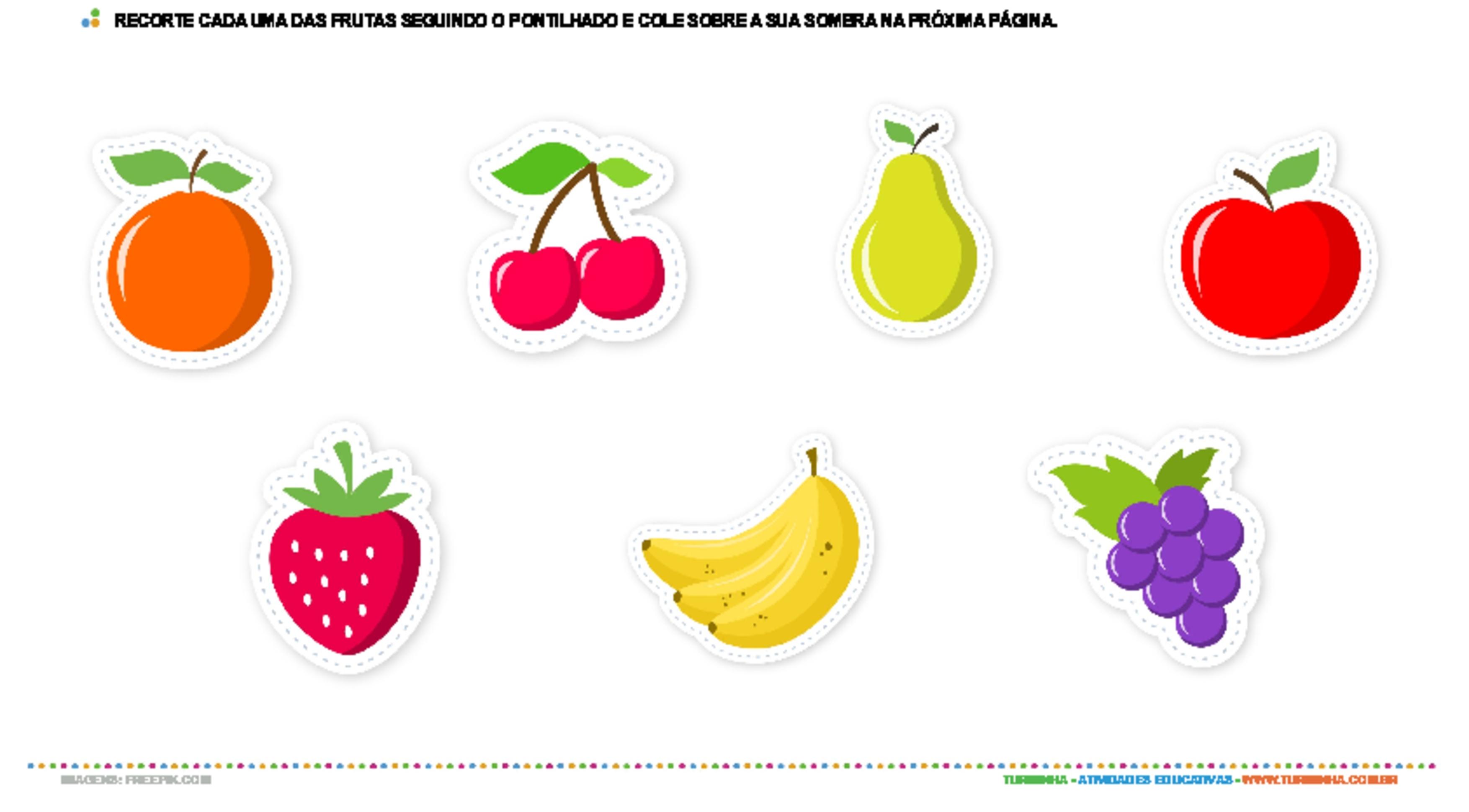 As frutas e suas sombras - atividade educativa para Creche (0 a 3 anos)