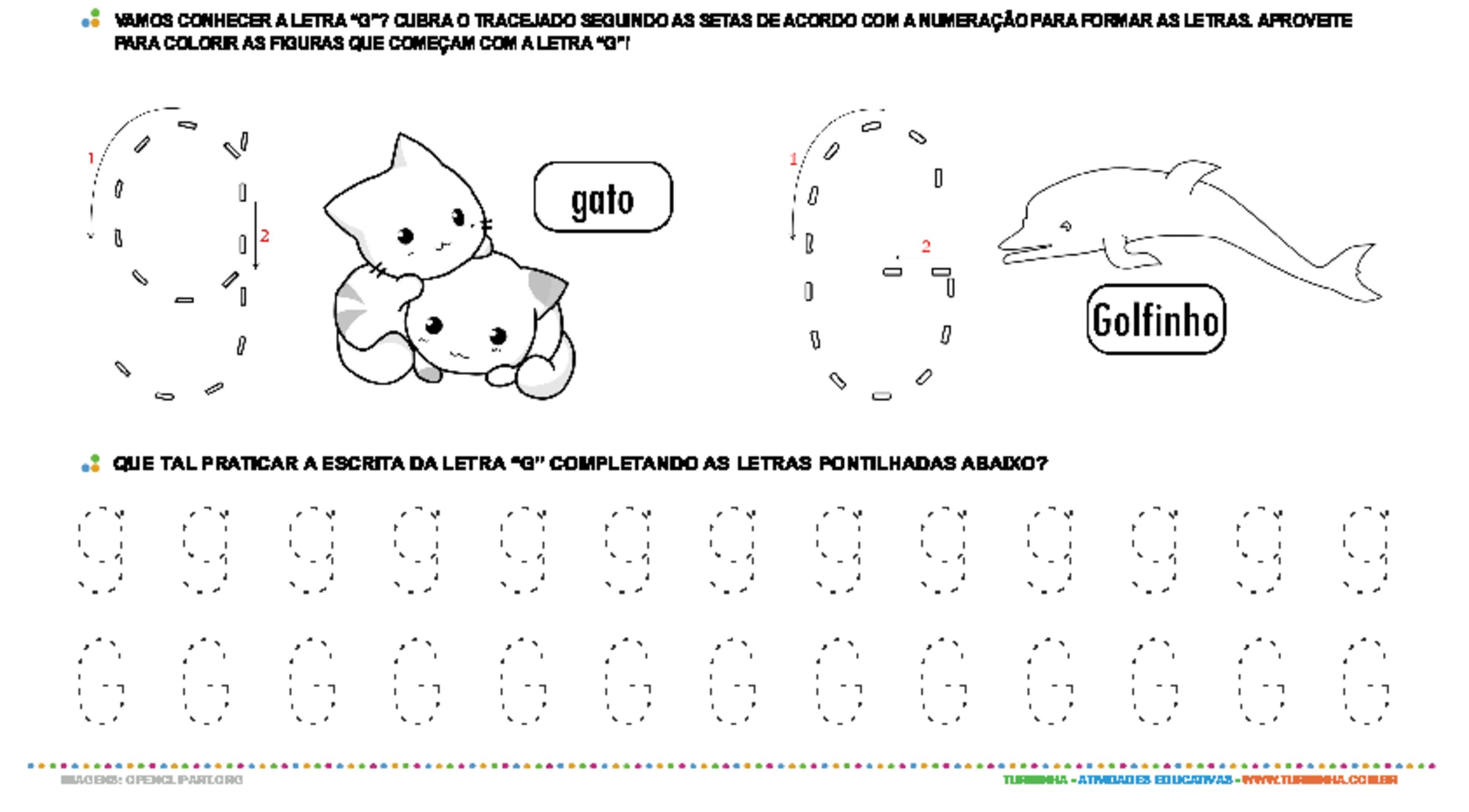 Letra G de forma maiúscula e minúscula - atividade educativa para Pré-Escola (4 e 5 anos)