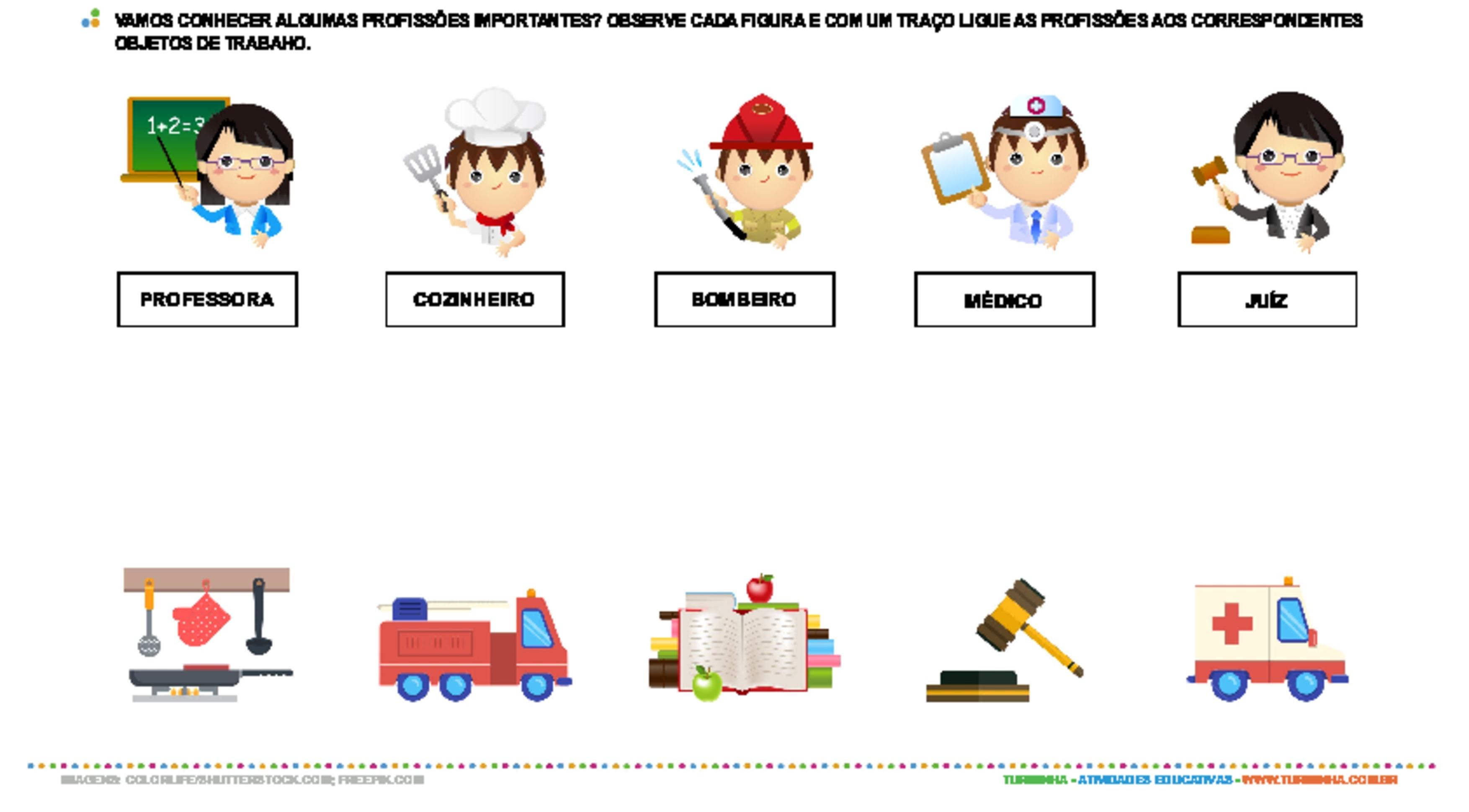 Conhecendo as profissões - atividade educativa para Pré-Escola (4 e 5 anos)