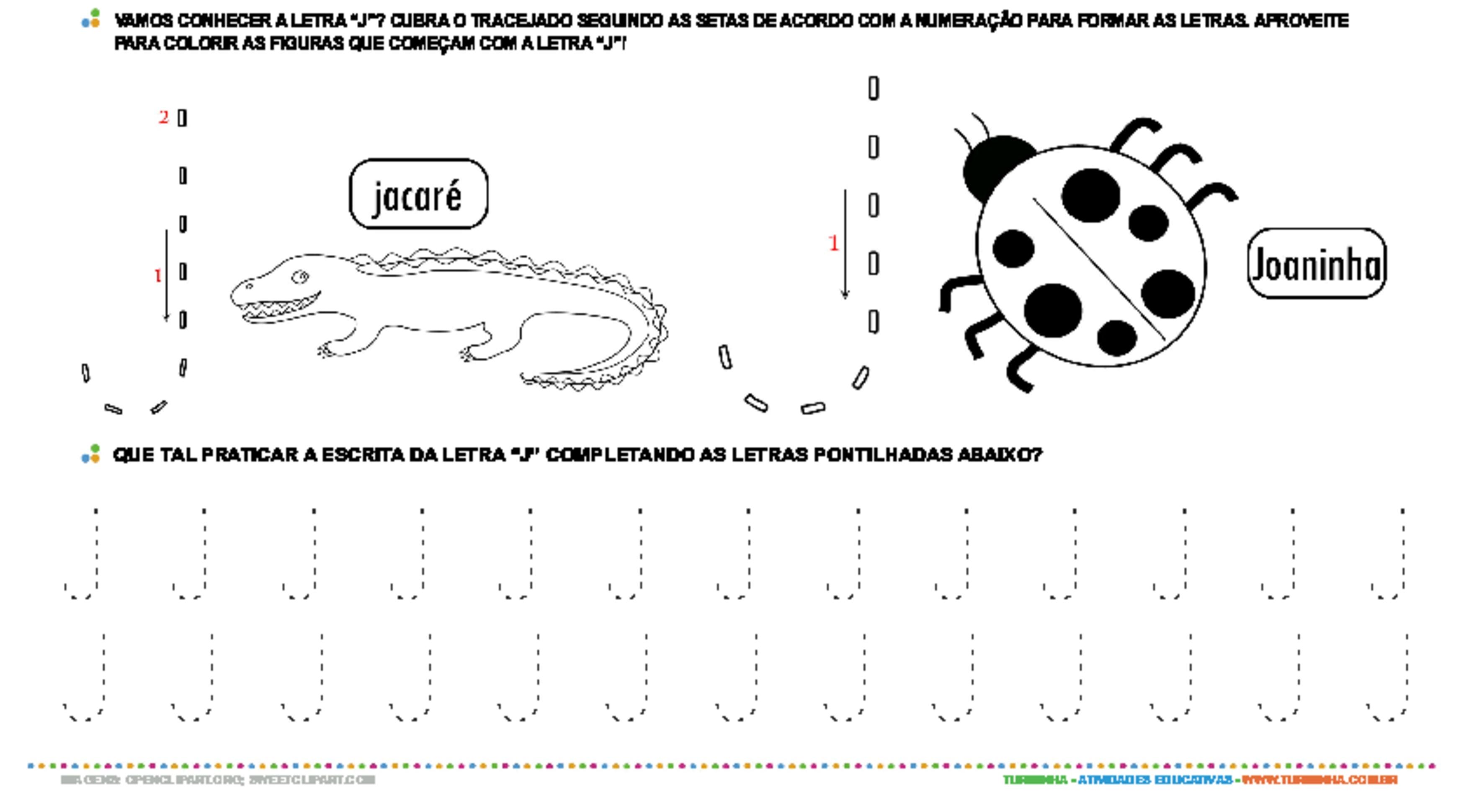 Letra J de forma maiúscula e minúscula - atividade educativa para Pré-Escola (4 e 5 anos)