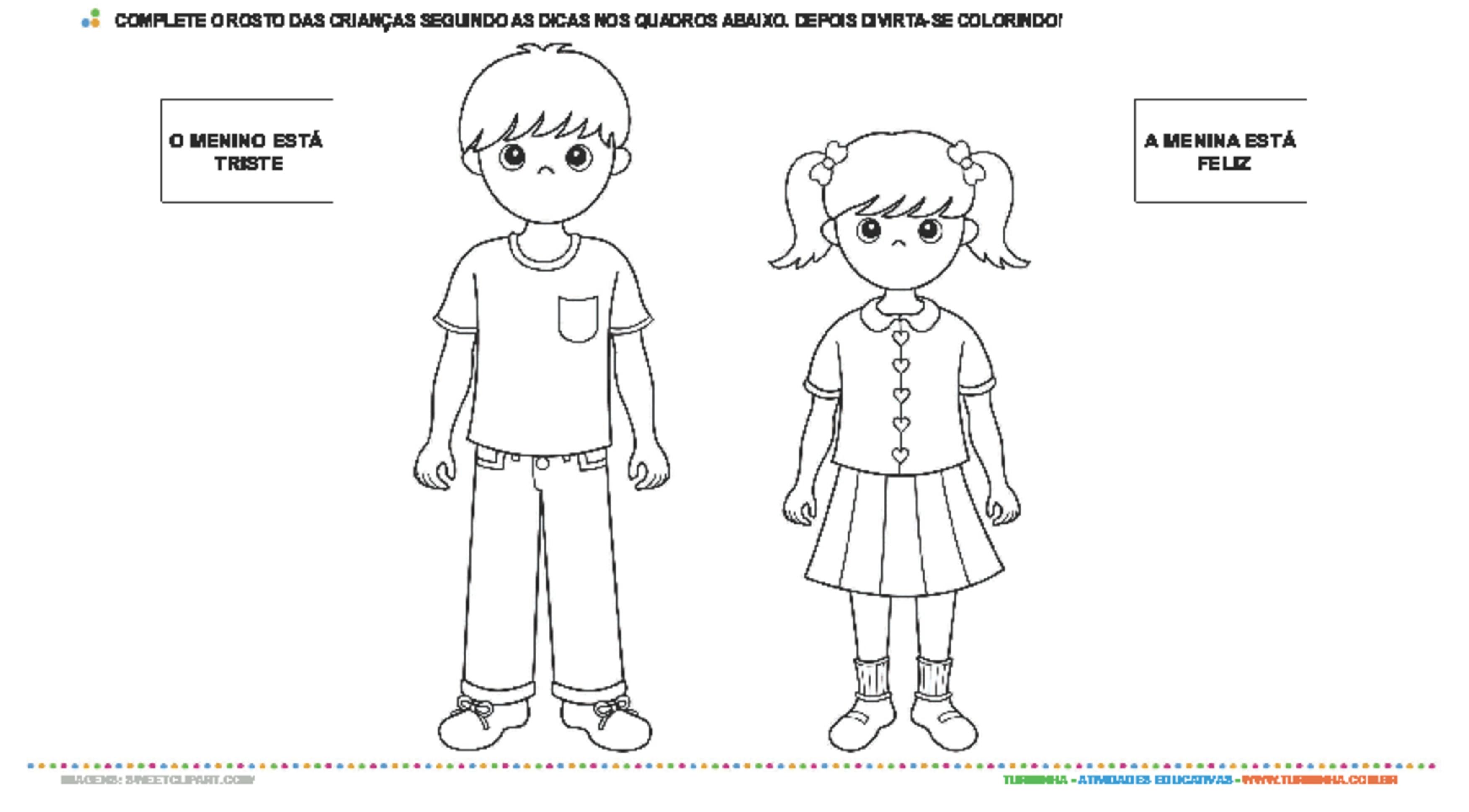 Expressões faciais: Feliz e Triste - atividade educativa para Creche (0 a 3 anos)