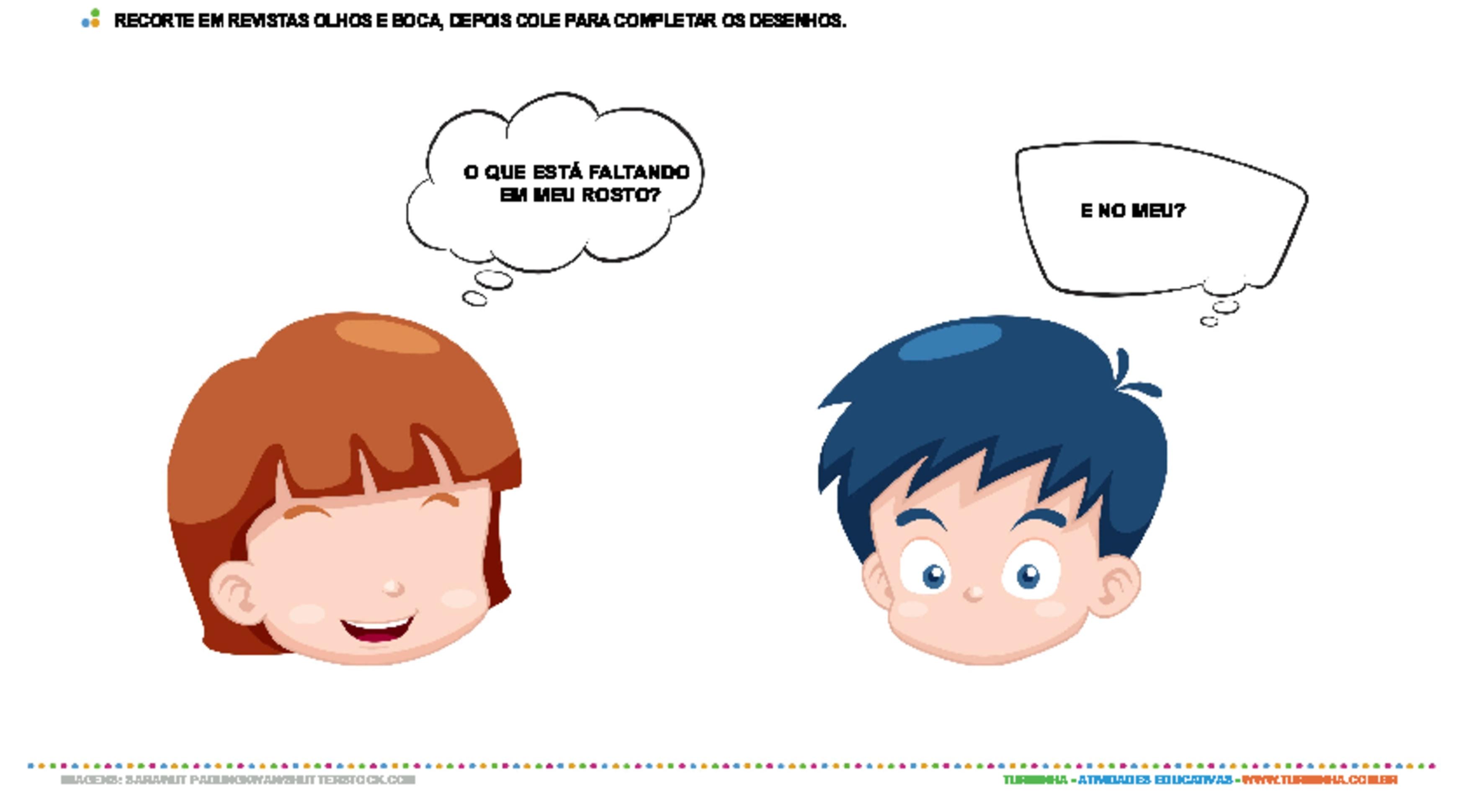 Recorte e colagem - rosto - atividade educativa para Creche (0 a 3 anos)