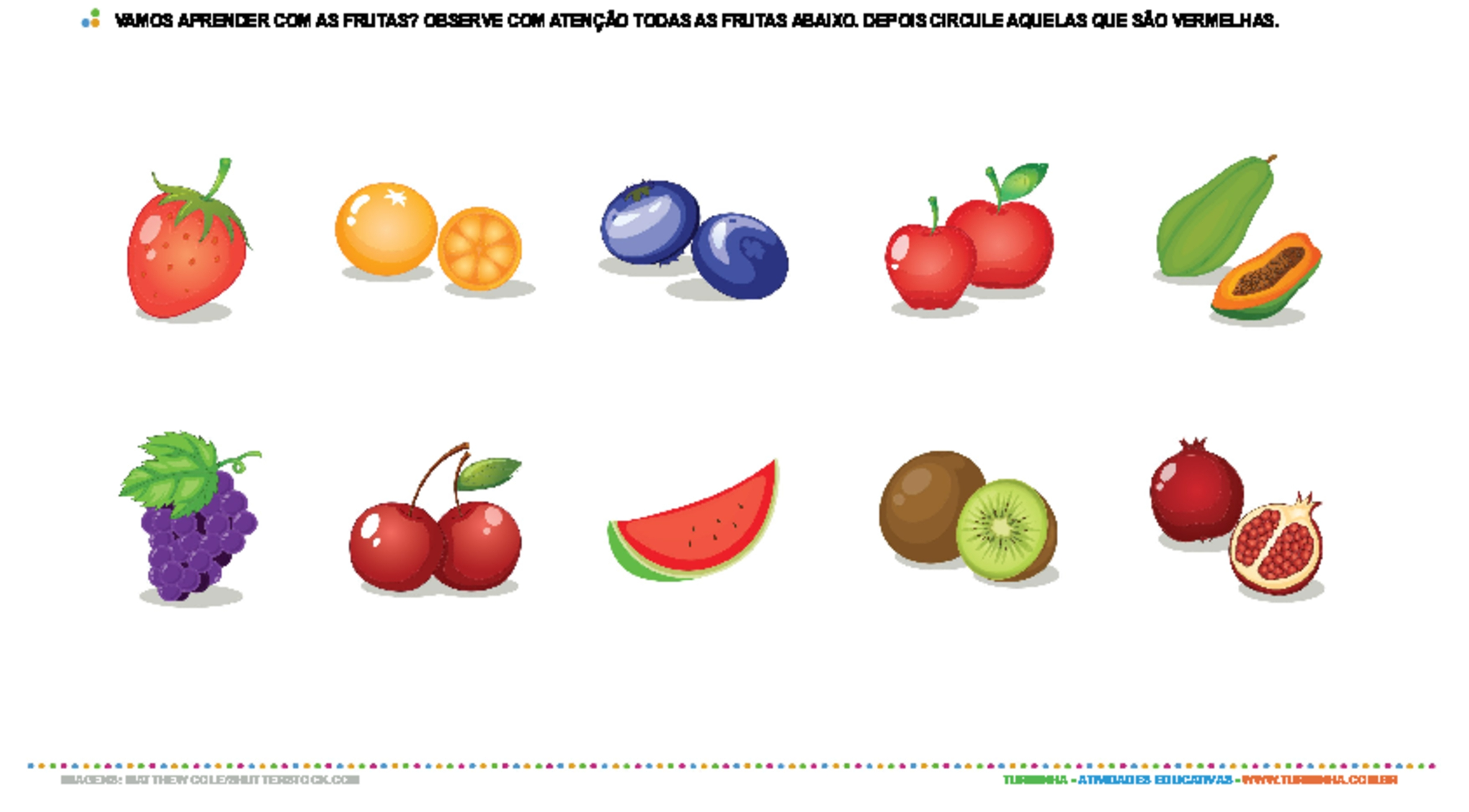 Reconhecendo a cor vermelha com as frutas - atividade educativa para Creche (0 a 3 anos)