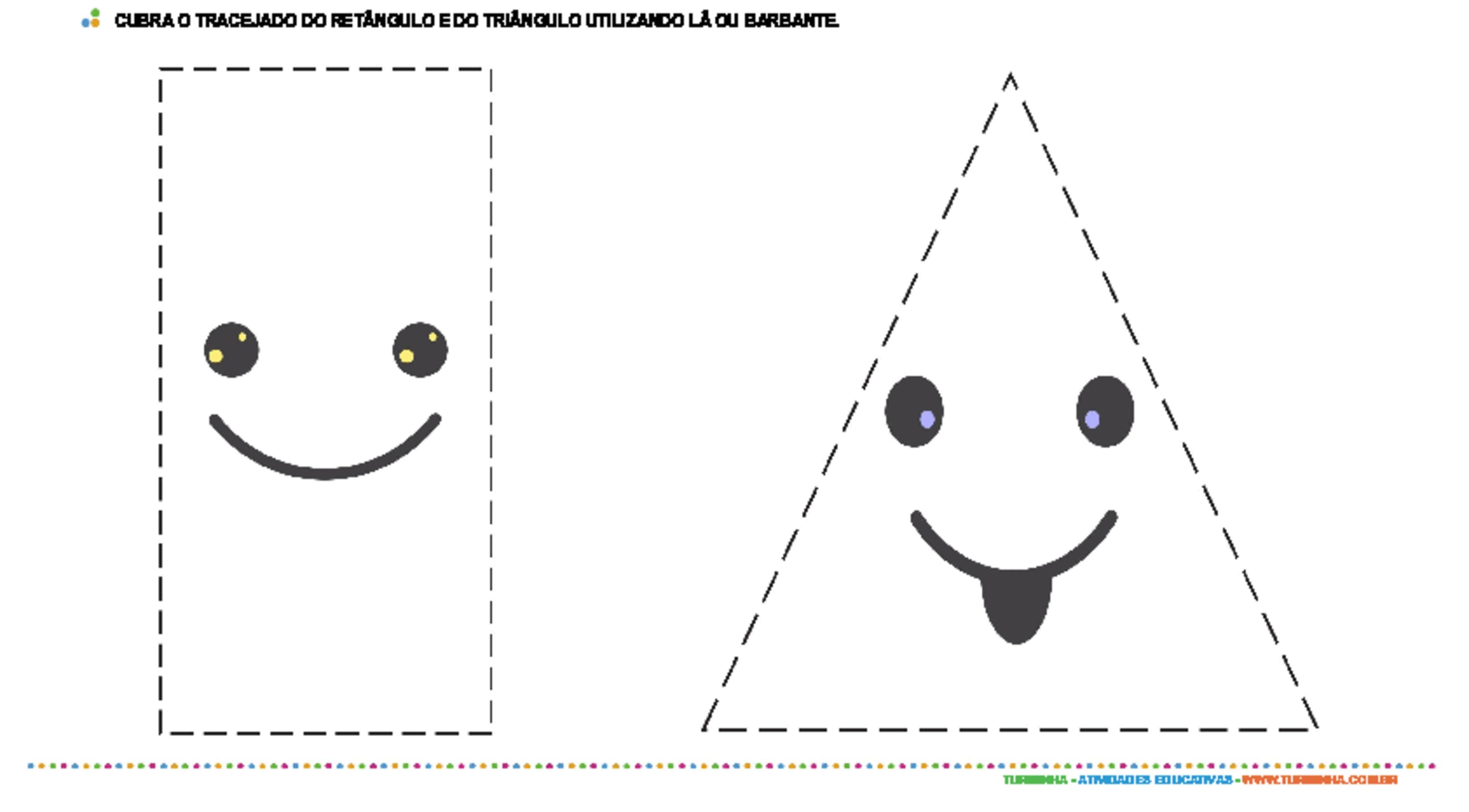 Colagem com barbante - retângulo e triângulo - atividade educativa para Creche (0 a 3 anos)
