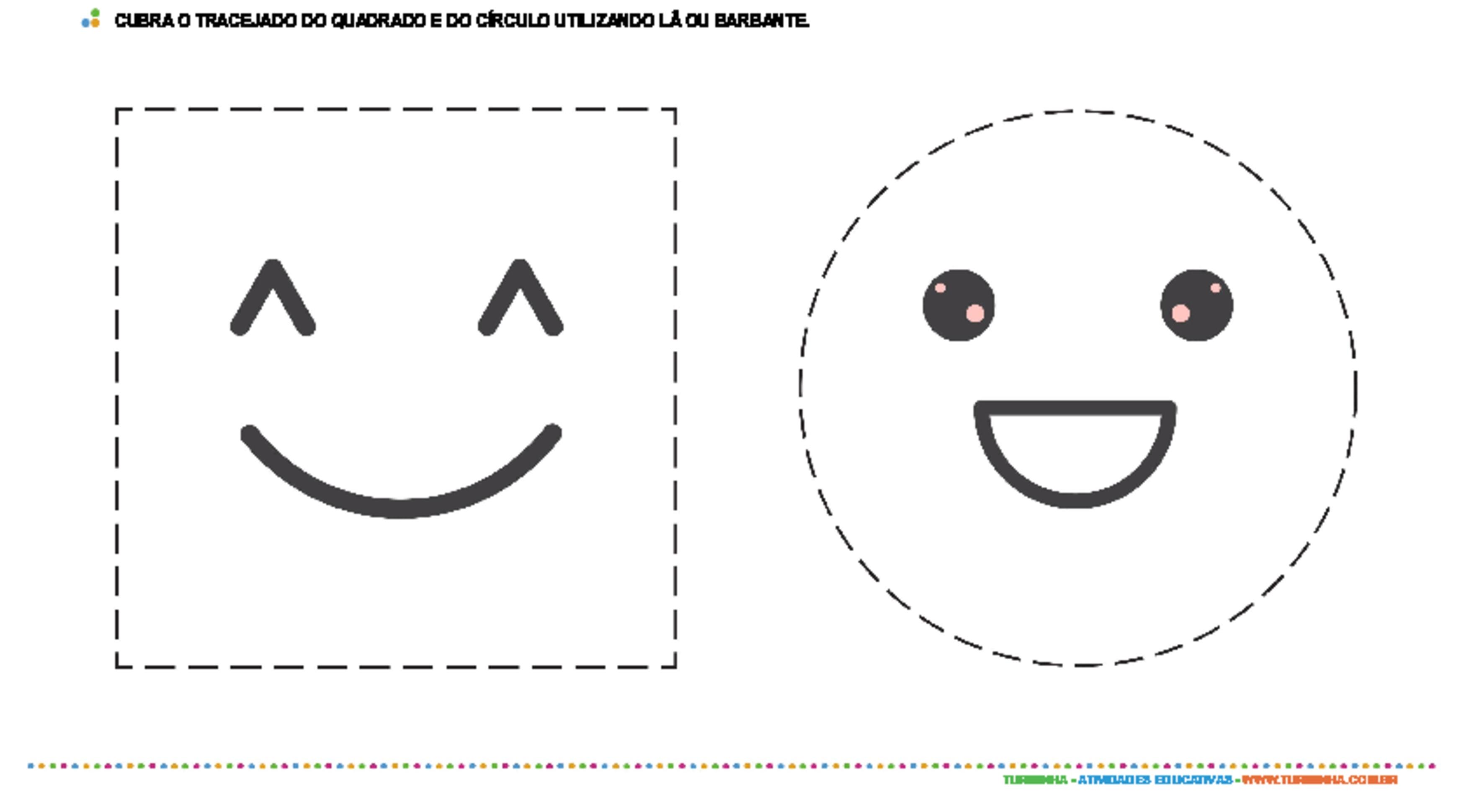 Colagem com barbante - quadrado e círculo - atividade educativa para Creche (0 a 3 anos)