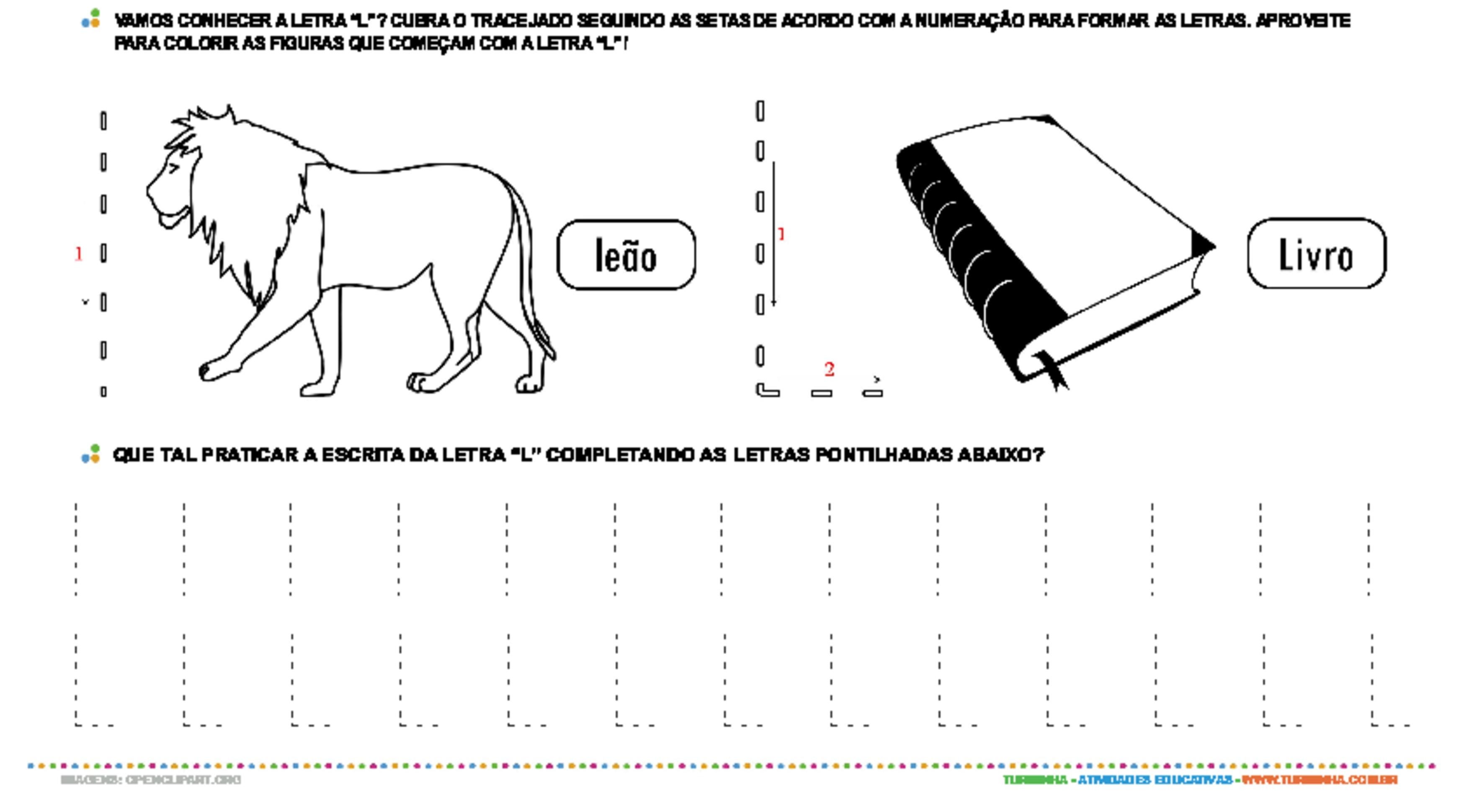 Letra L de forma maiúscula e minúscula - atividade educativa para Pré-Escola (4 e 5 anos)