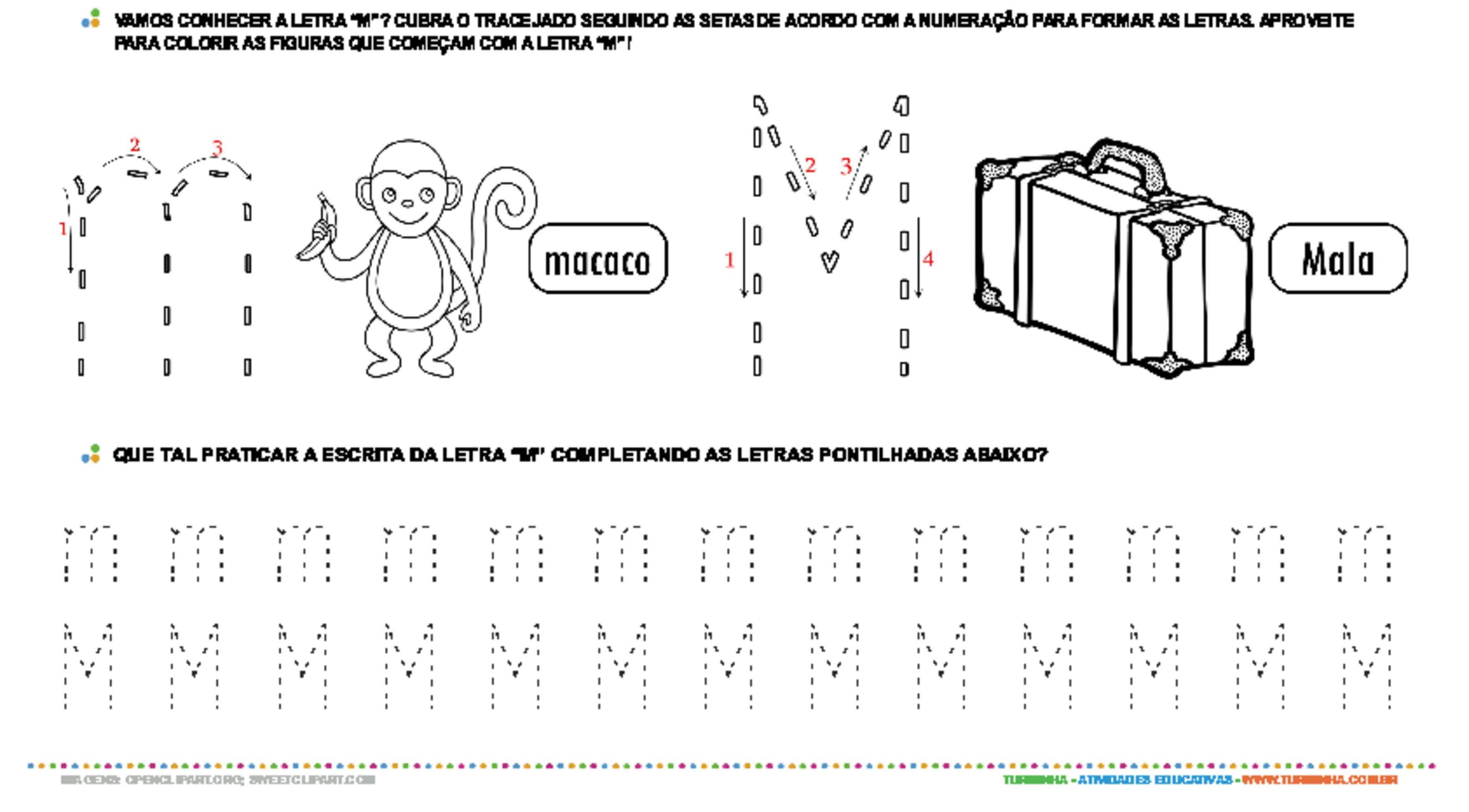 Letra M de forma maiúscula e minúscula - atividade educativa para Pré-Escola (4 e 5 anos)