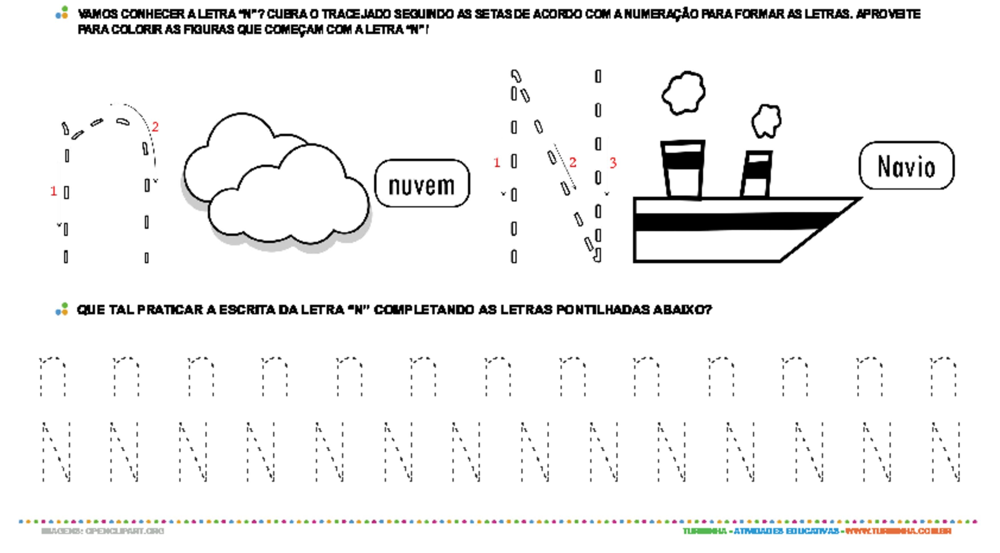 Letra N de forma maiúscula e minúscula - atividade educativa para Pré-Escola (4 e 5 anos)