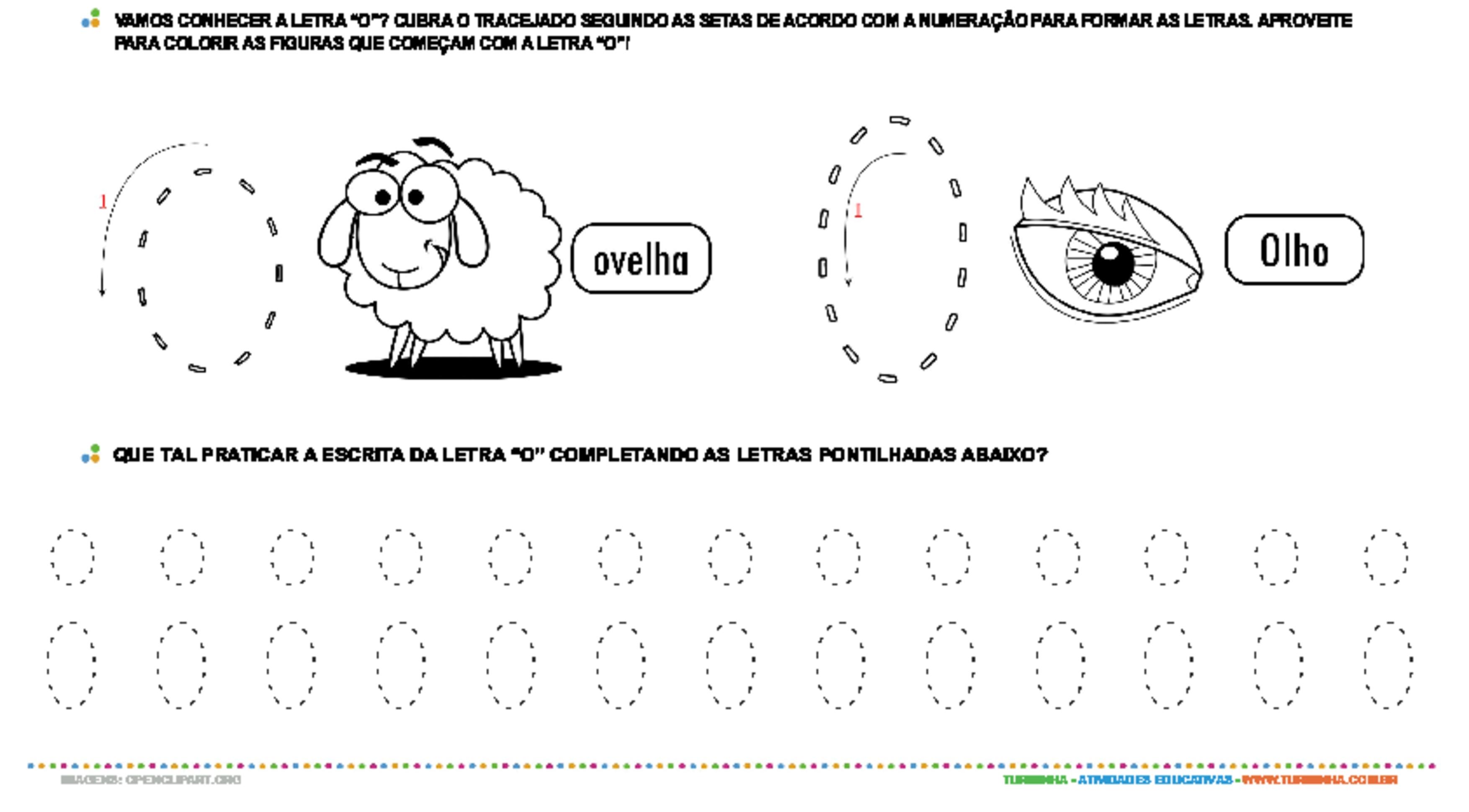 Letra O de forma maiúscula e minúscula - atividade educativa para Pré-Escola (4 e 5 anos)