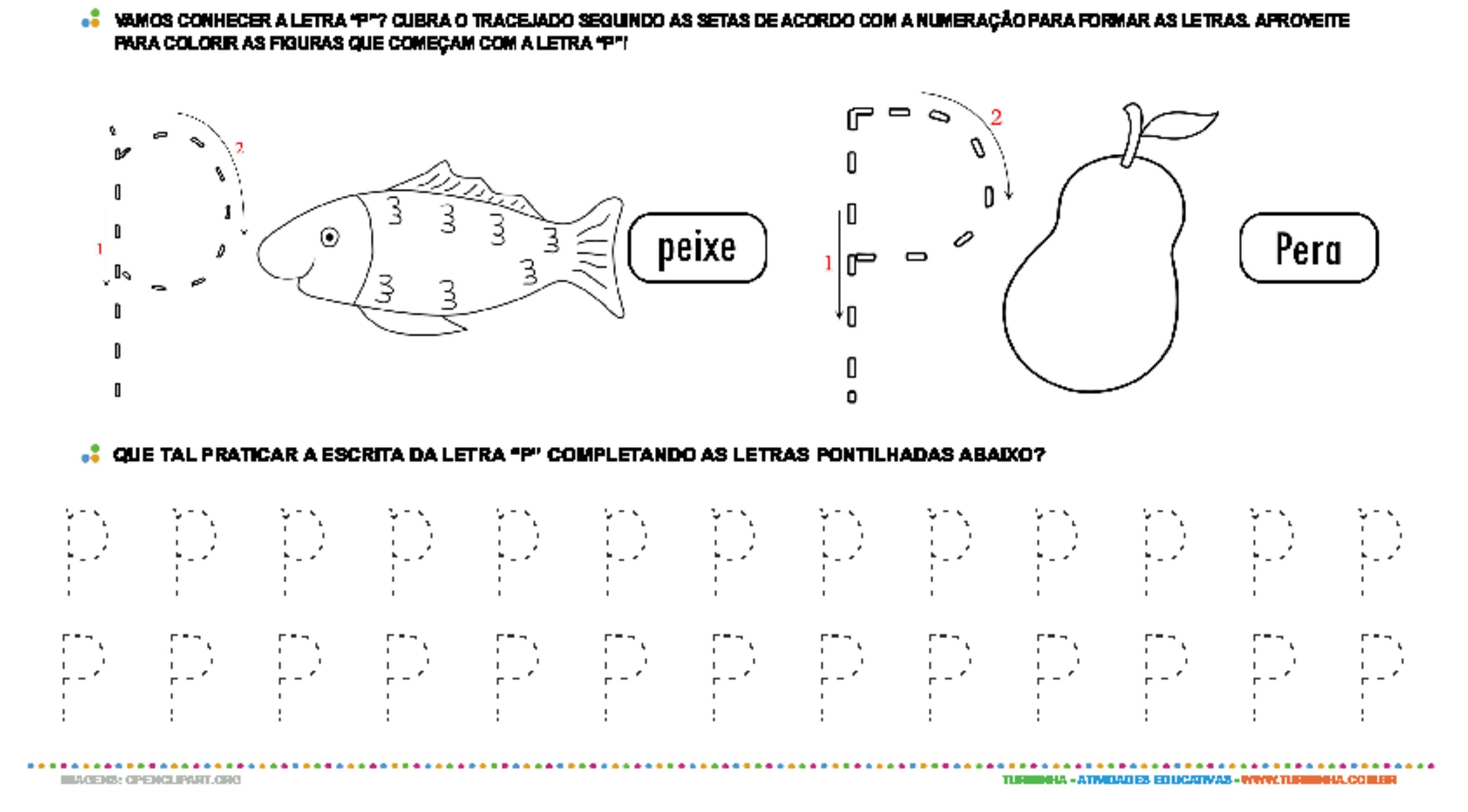Letra P de forma maiúscula e minúscula - atividade educativa para Pré-Escola (4 e 5 anos)