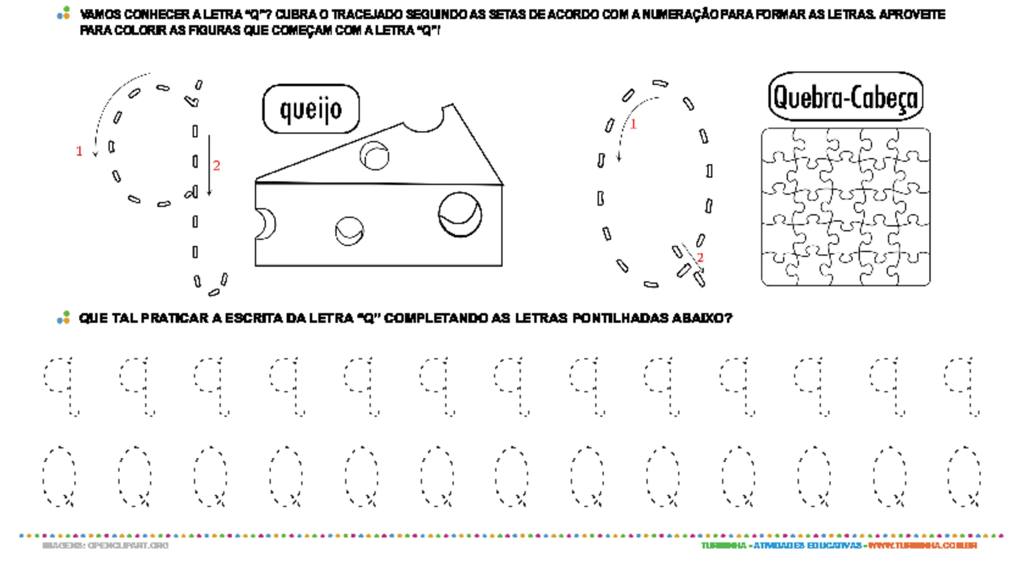 Letra Q de forma maiúscula e minúscula - atividade educativa para Pré-Escola (4 e 5 anos)
