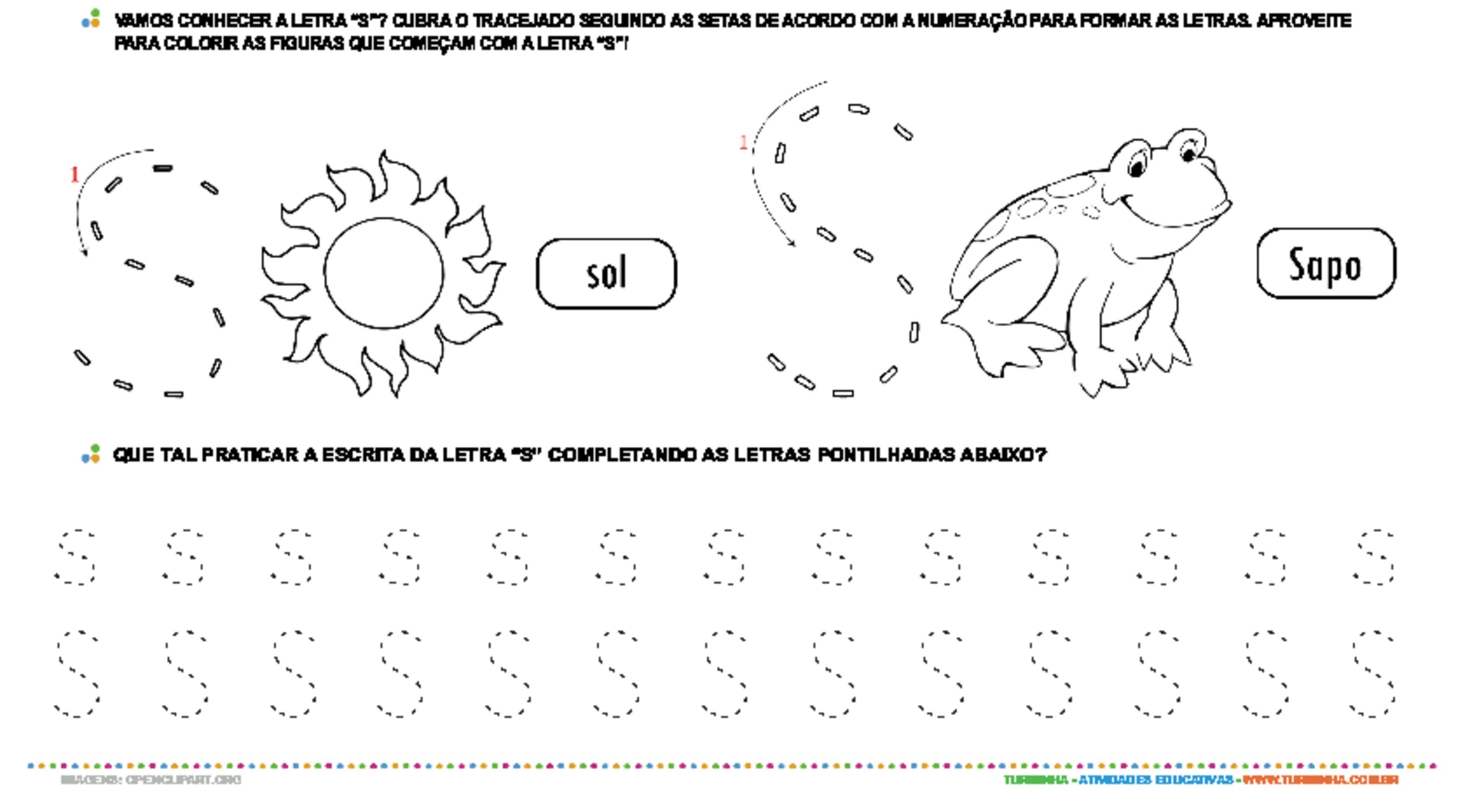 Letra S de forma maiúscula e minúscula - atividade educativa para Pré-Escola (4 e 5 anos)
