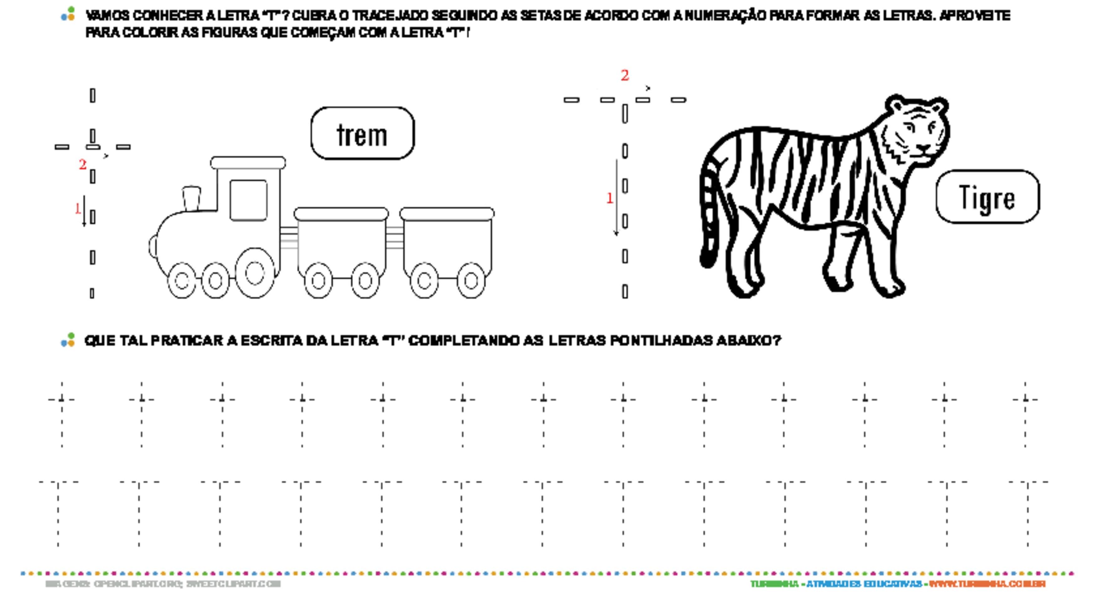 Letra T de forma maiúscula e minúscula - atividade educativa para Pré-Escola (4 e 5 anos)