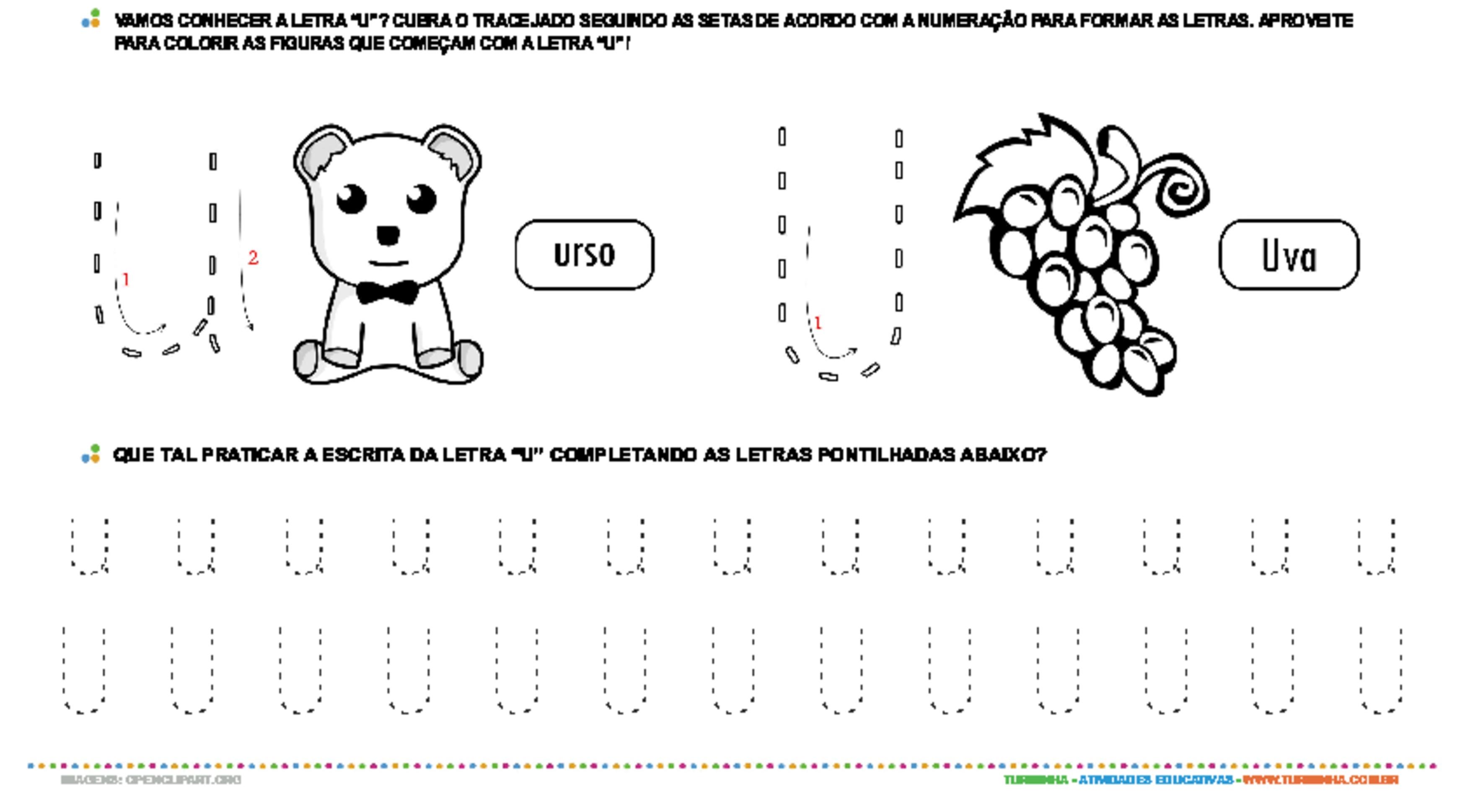 Letra U de forma maiúscula e minúscula - atividade educativa para Pré-Escola (4 e 5 anos)