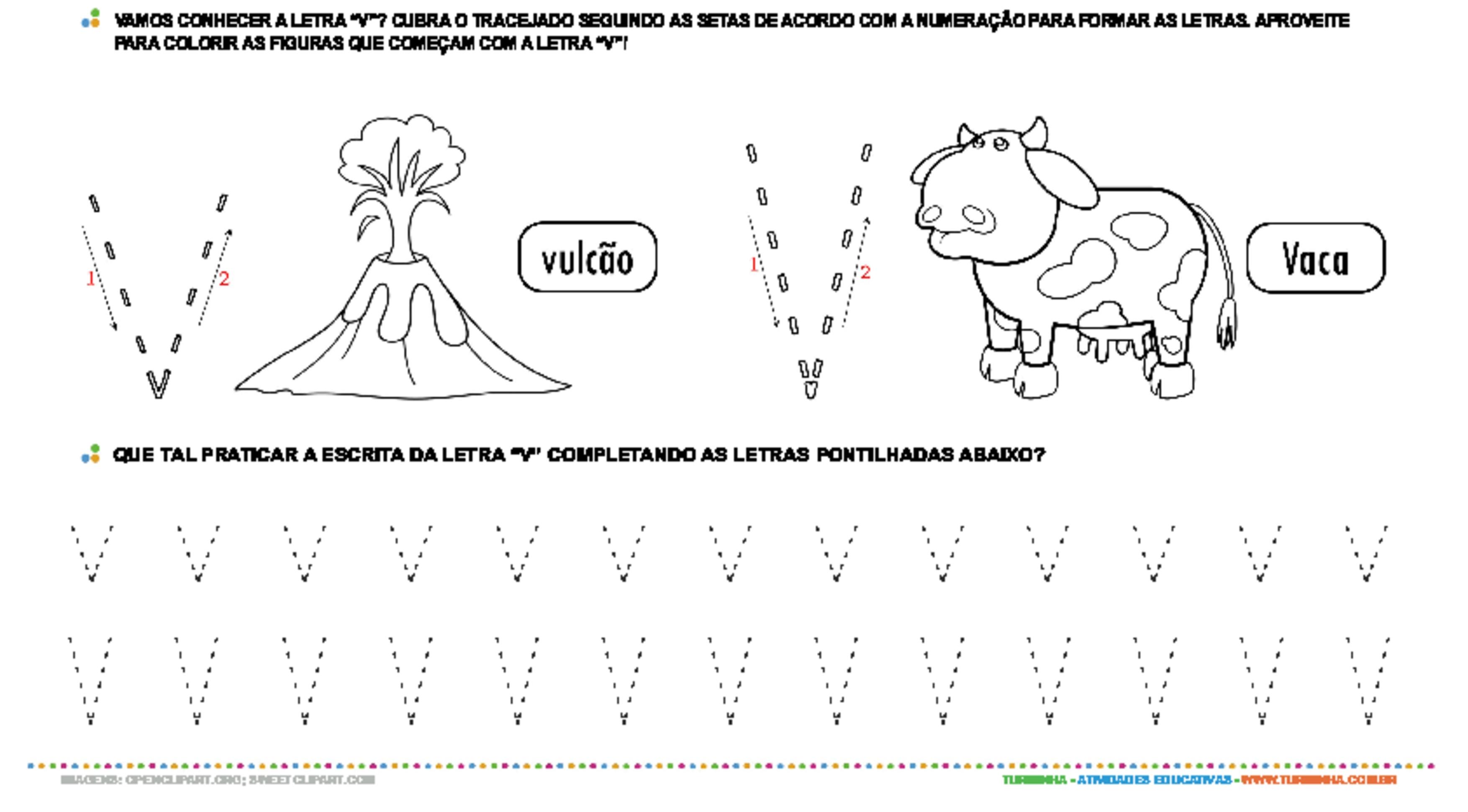 Letra V de forma maiúscula e minúscula - atividade educativa para Pré-Escola (4 e 5 anos)