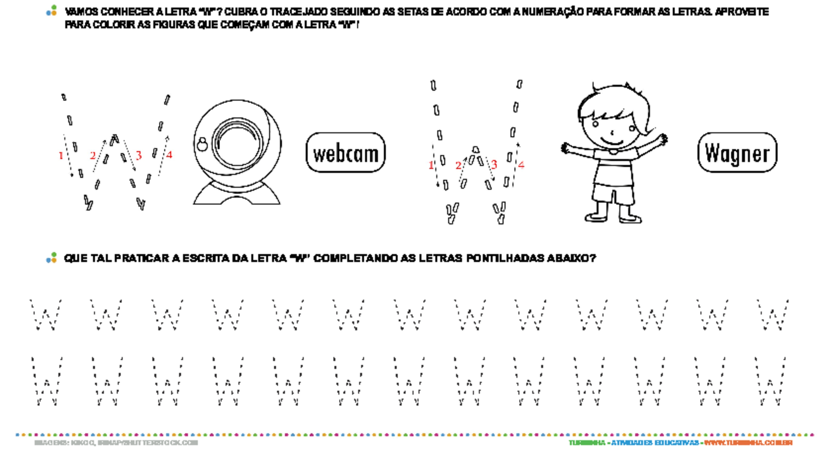 Letra W de forma maiúscula e minúscula - atividade educativa para Pré-Escola (4 e 5 anos)