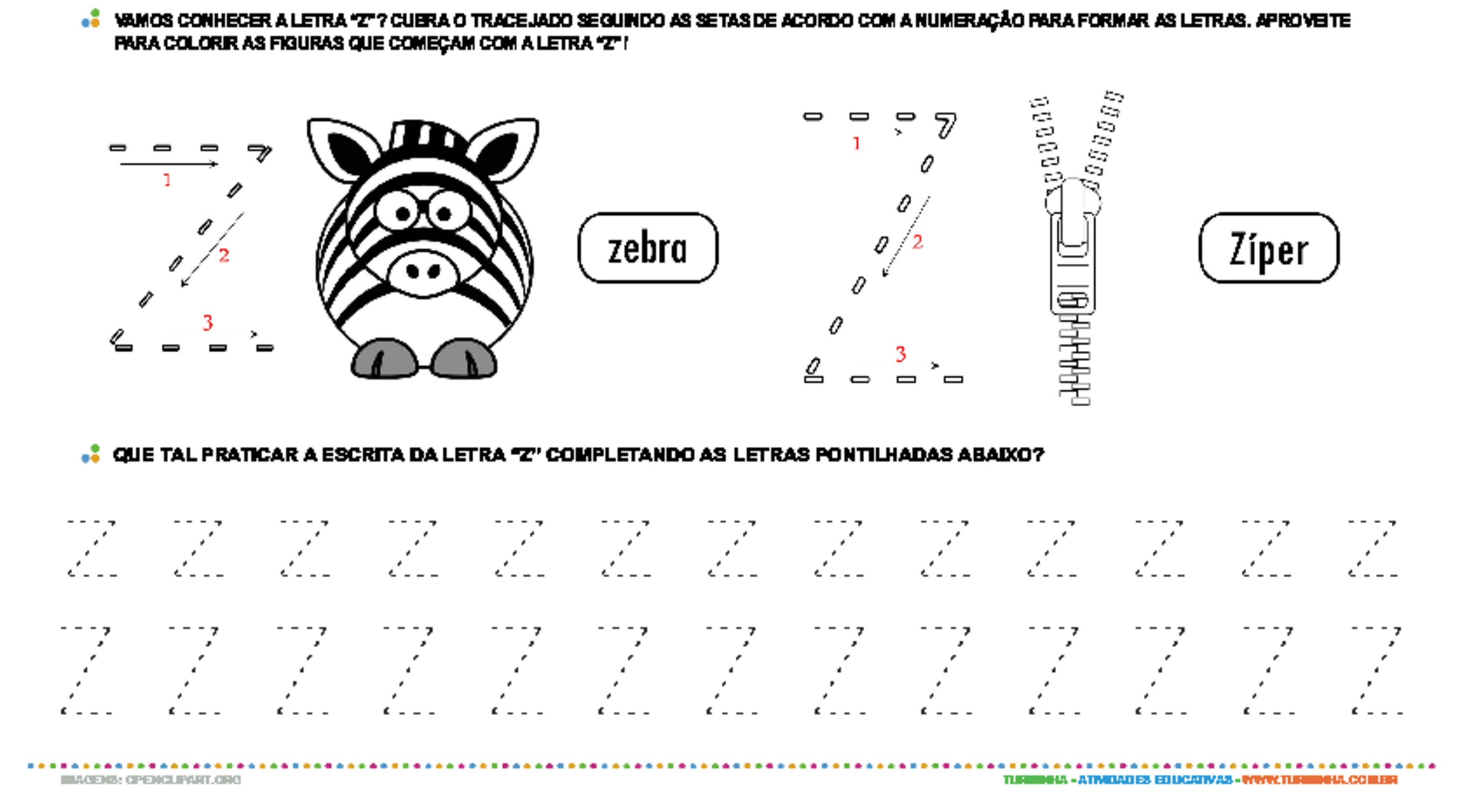 Letra Z de forma maiúscula e minúscula - atividade educativa para Pré-Escola (4 e 5 anos)