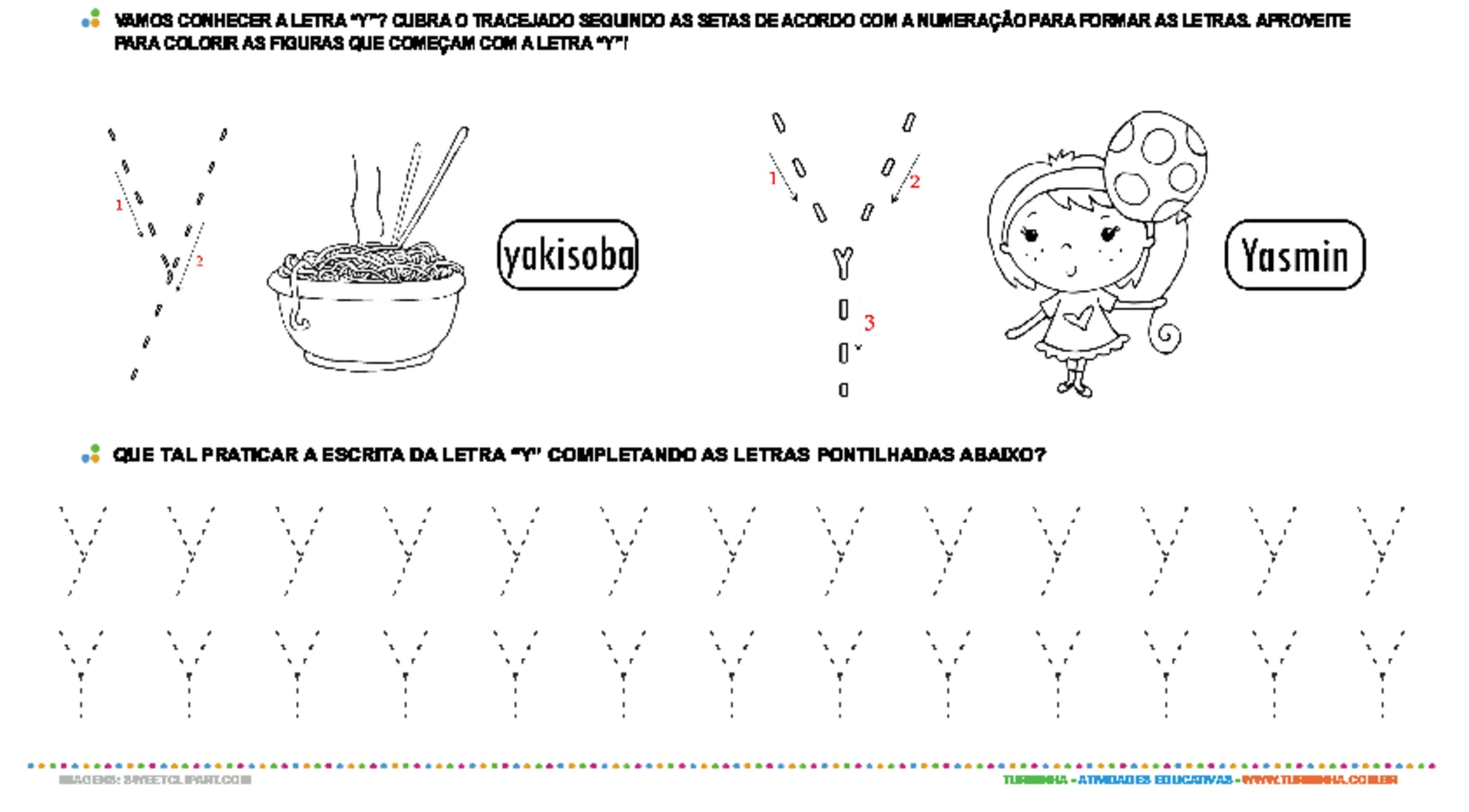 Letra Y de forma maiúscula e minúscula - atividade educativa para Pré-Escola (4 e 5 anos)