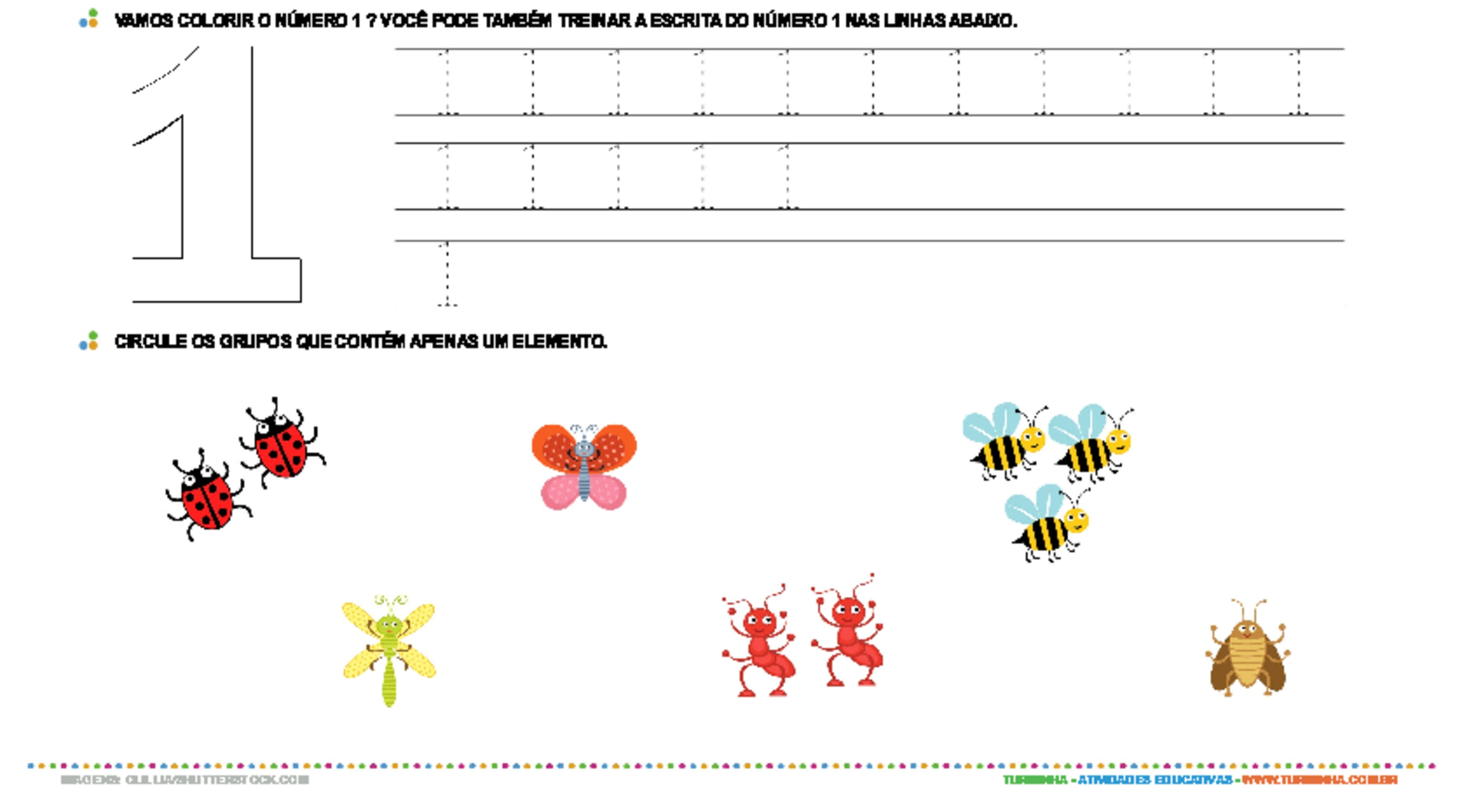 Aprendendo o número 1 - atividade educativa para Creche (0 a 3 anos)