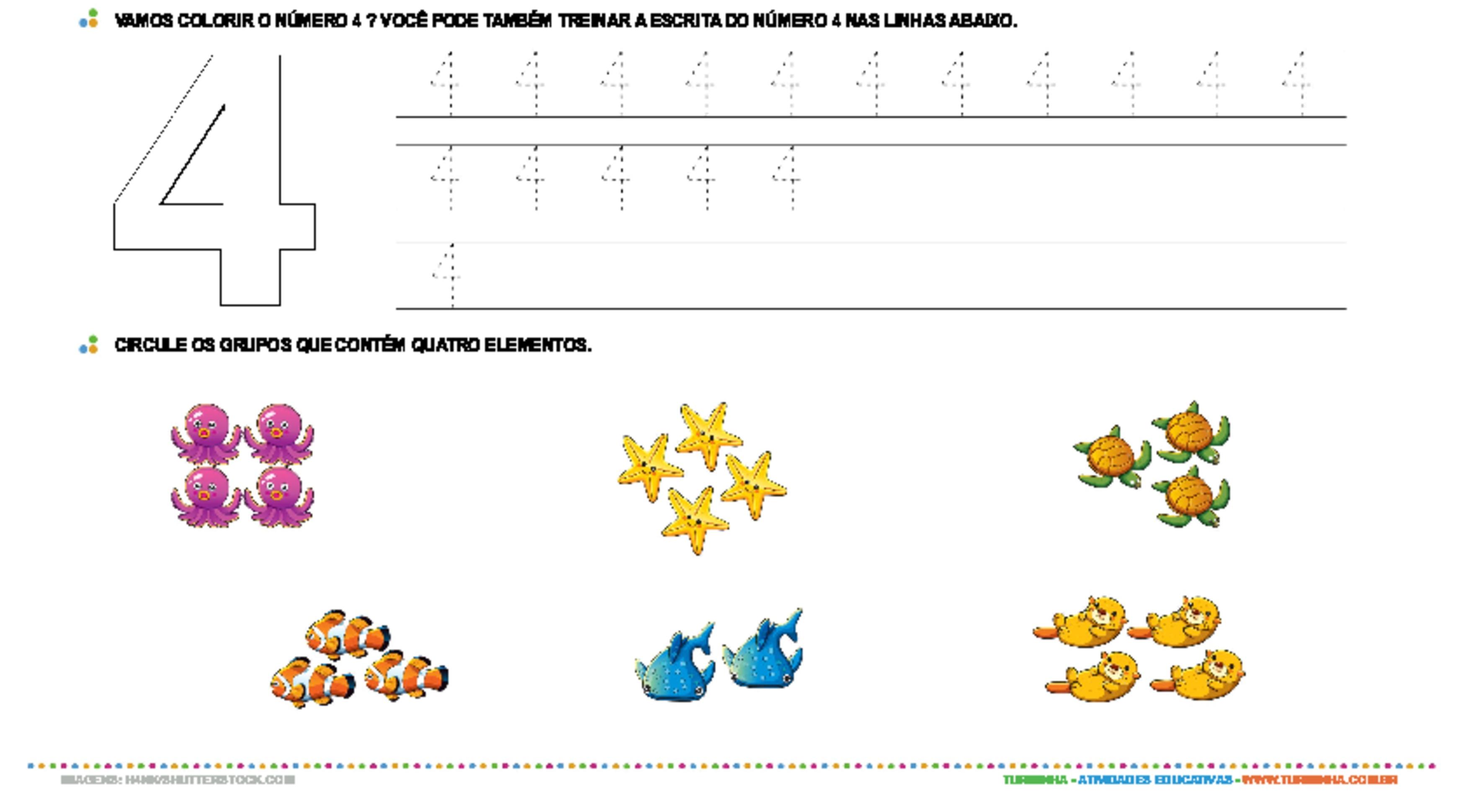 Aprendendo o número 4 - atividade educativa para Creche (0 a 3 anos)