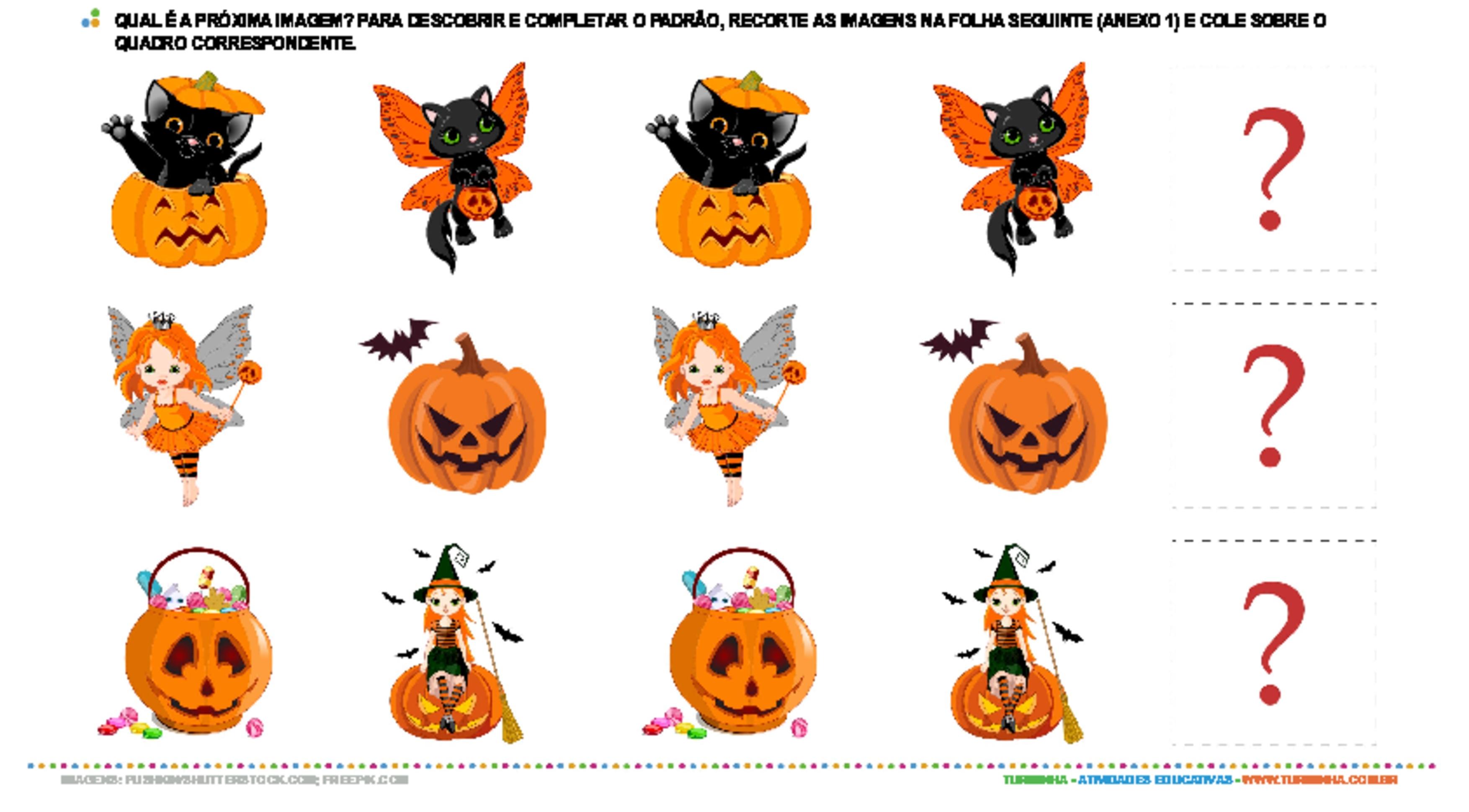 Complete a sequência - Dia das bruxas - atividade educativa para Pré-Escola (4 e 5 anos)