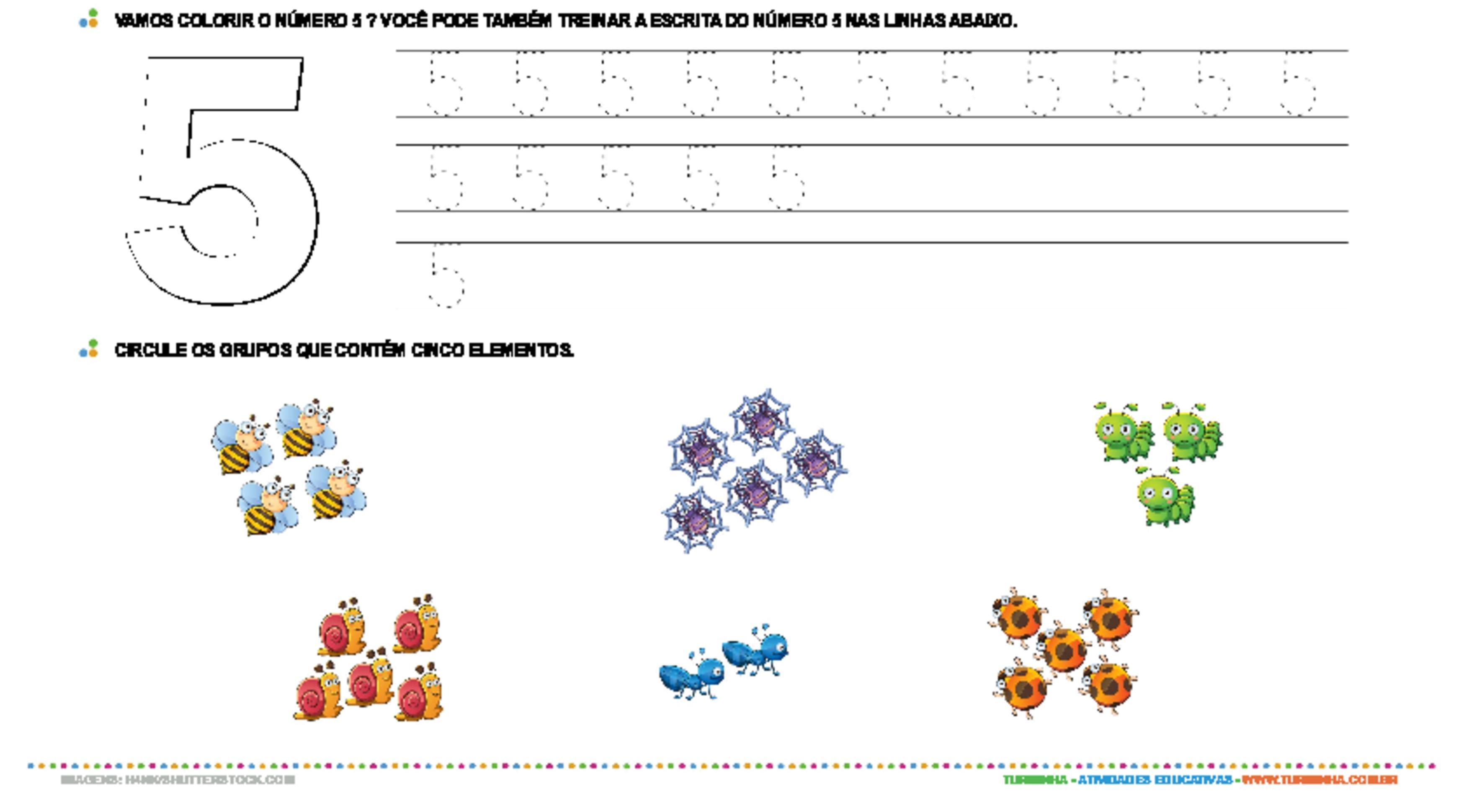 Aprendendo o número 5 - atividade educativa para Creche (0 a 3 anos)