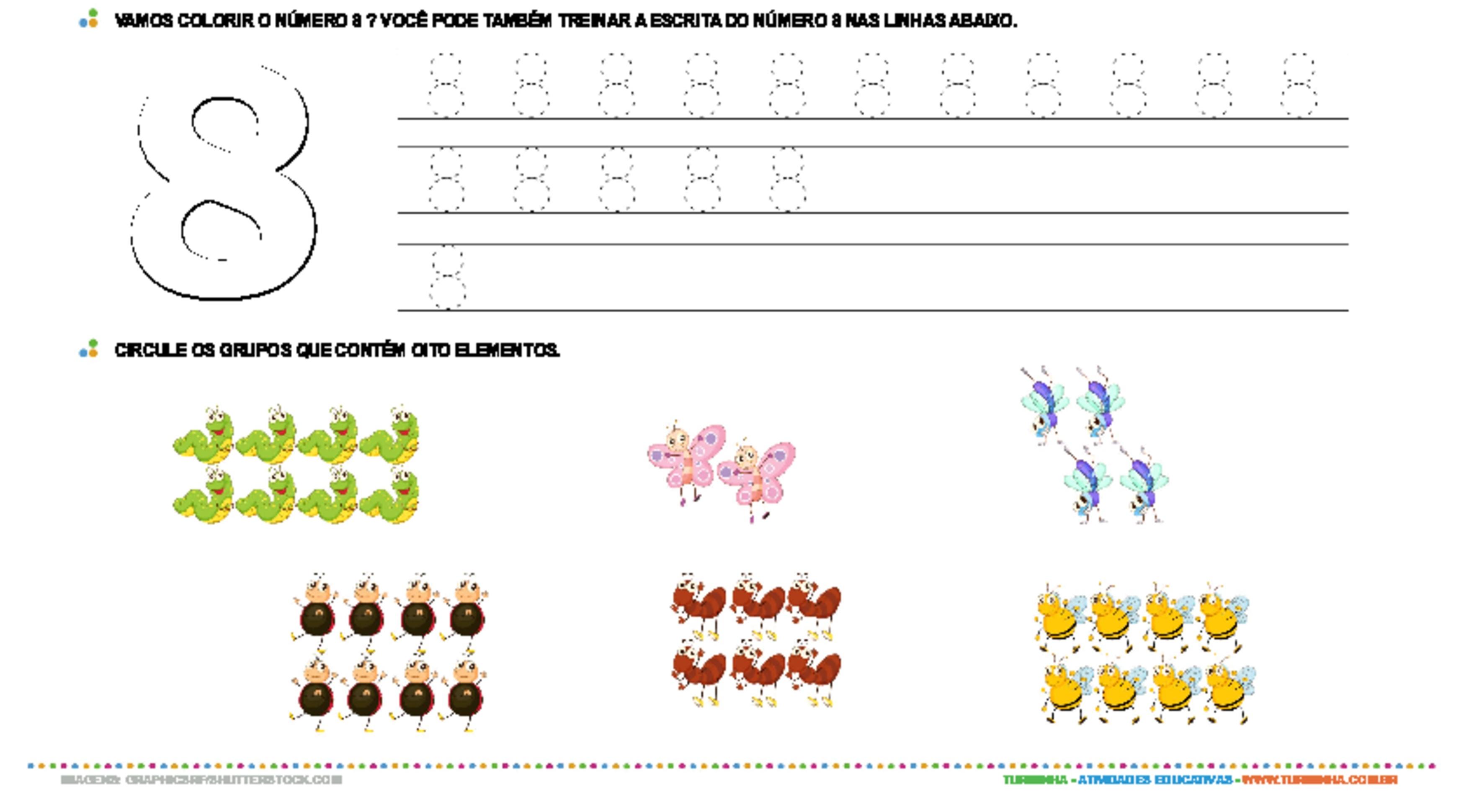 Aprendendo o número 8 - atividade educativa para Creche (0 a 3 anos)