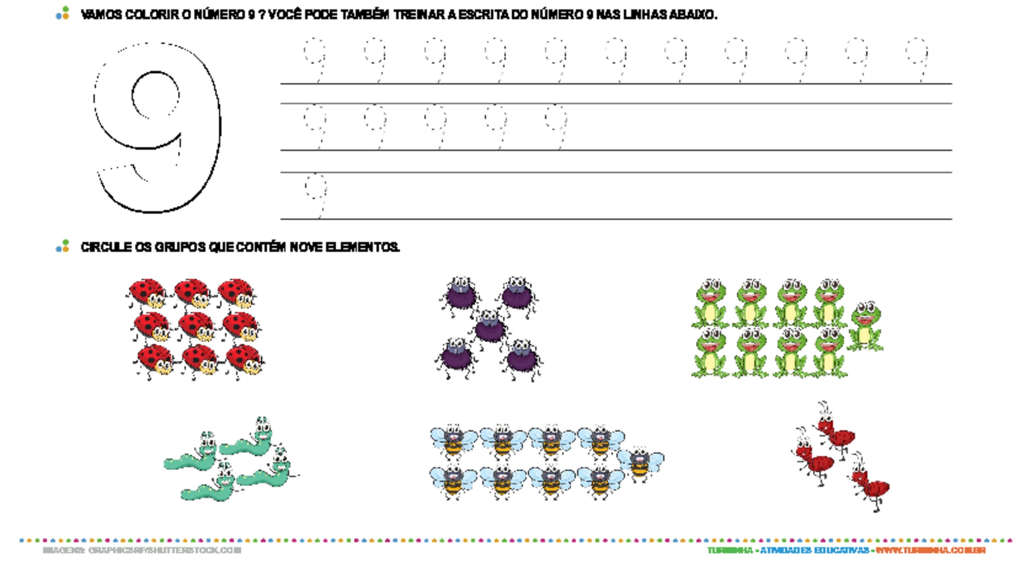 Aprendendo o número 9 - atividade educativa para Creche (0 a 3 anos)