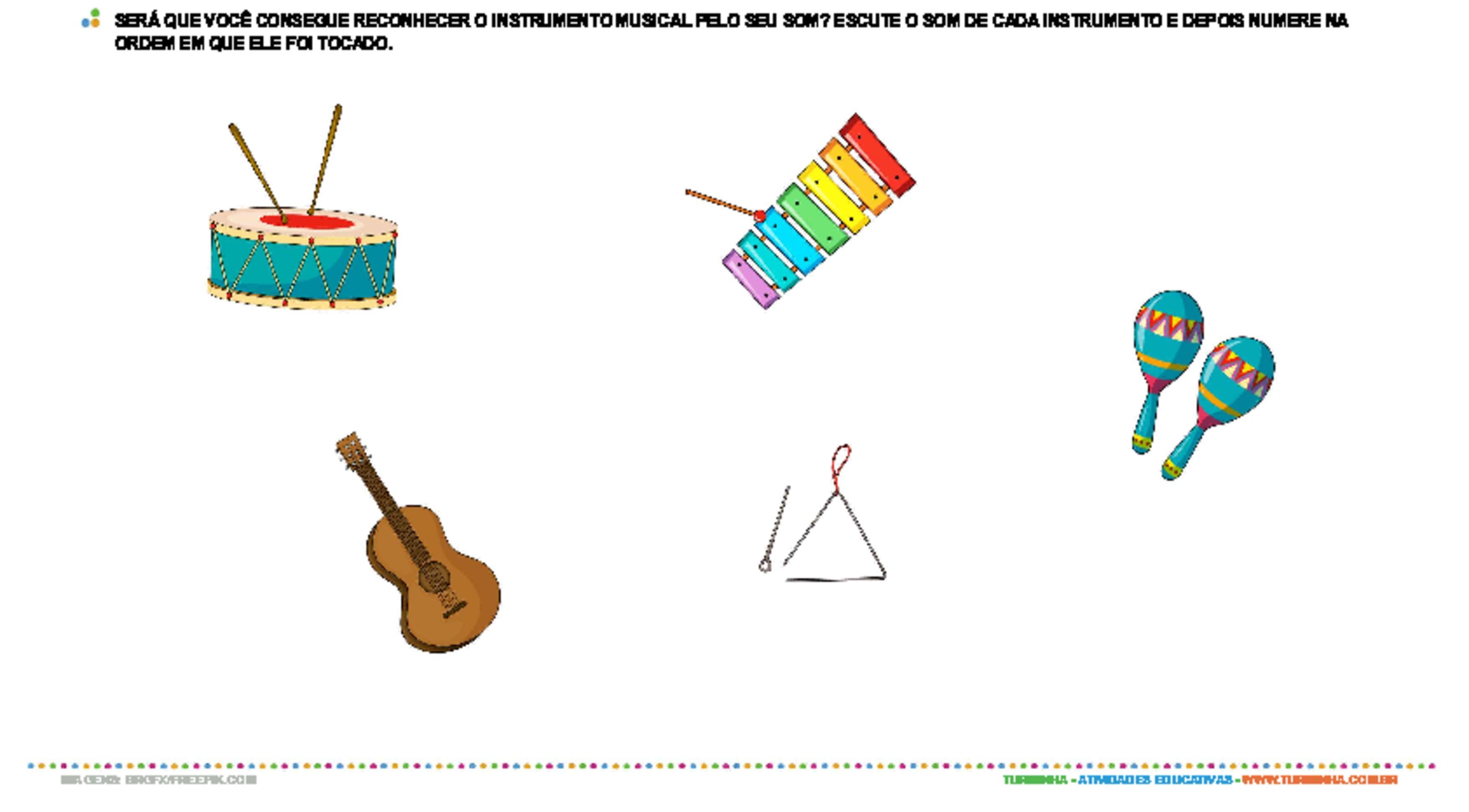 Explorando sons com instrumentos musicais - atividade educativa para Pré-Escola (4 e 5 anos)