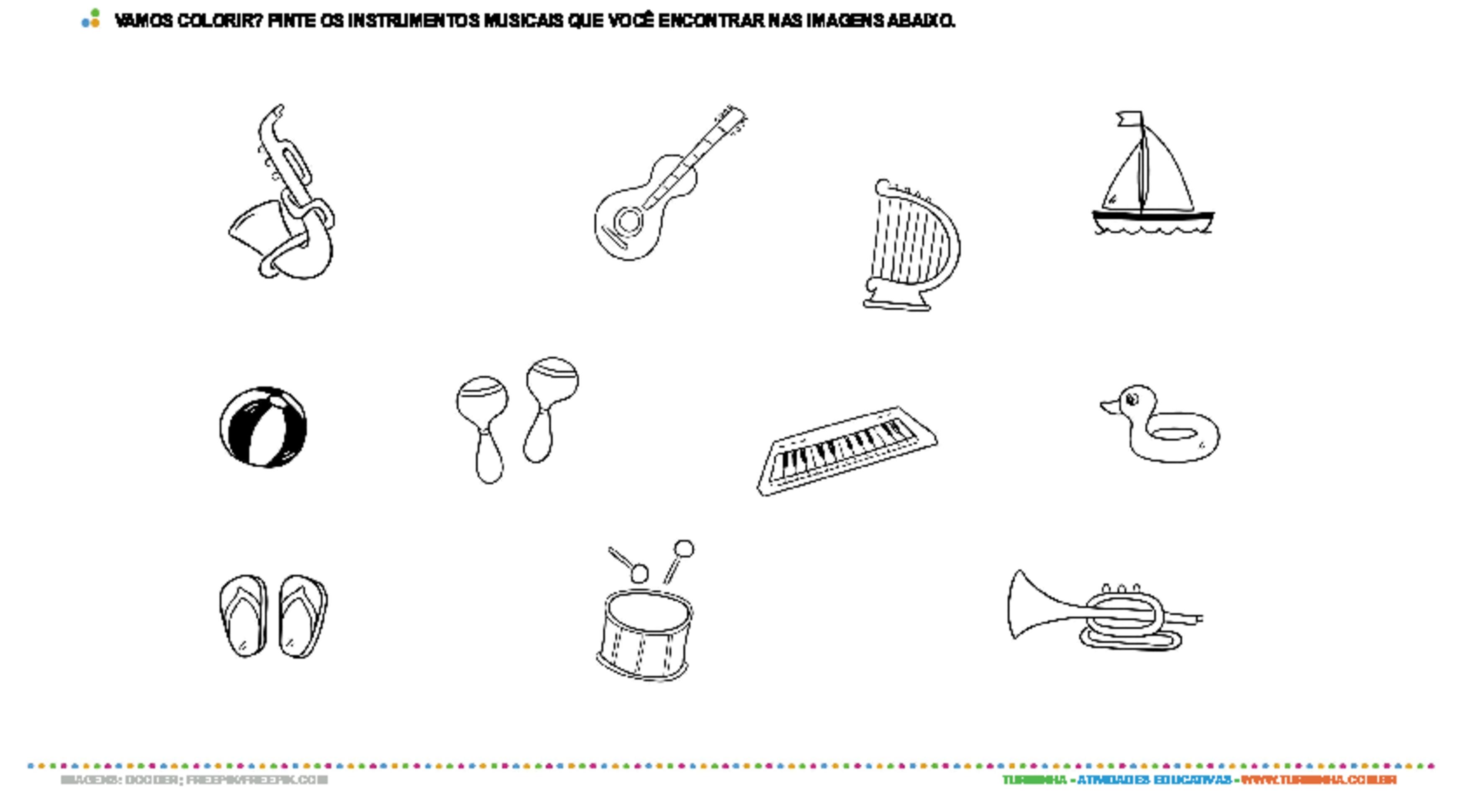 Conhecendo os instrumentos musicais - atividade educativa para Pré-Escola (4 e 5 anos)