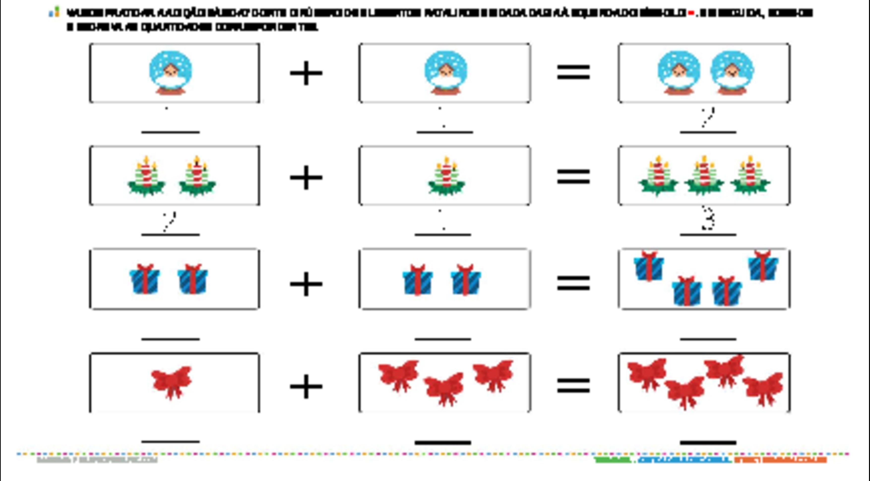 Adição básica - Natal - atividade educativa para Pré-Escola (4 e 5 anos)