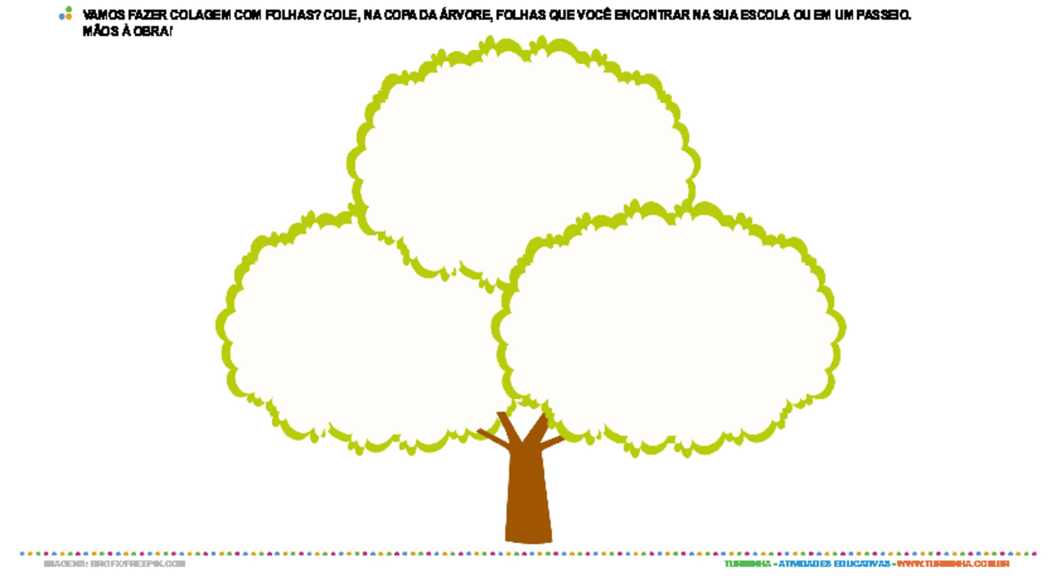 Colagem com folhas - atividade educativa para Creche (0 a 3 anos)