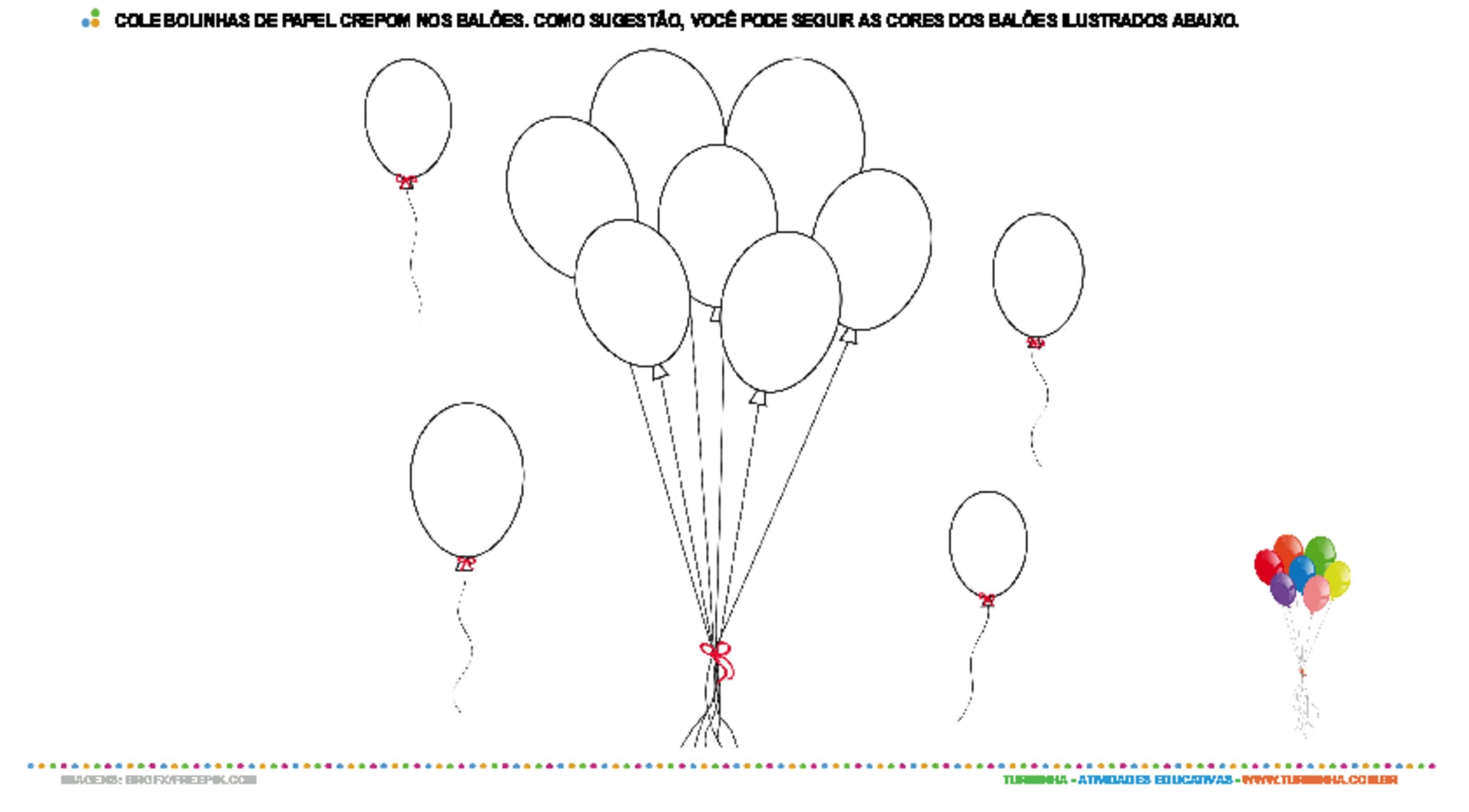 Balões com bolinhas de papel crepom - atividade educativa para Creche (0 a 3 anos)