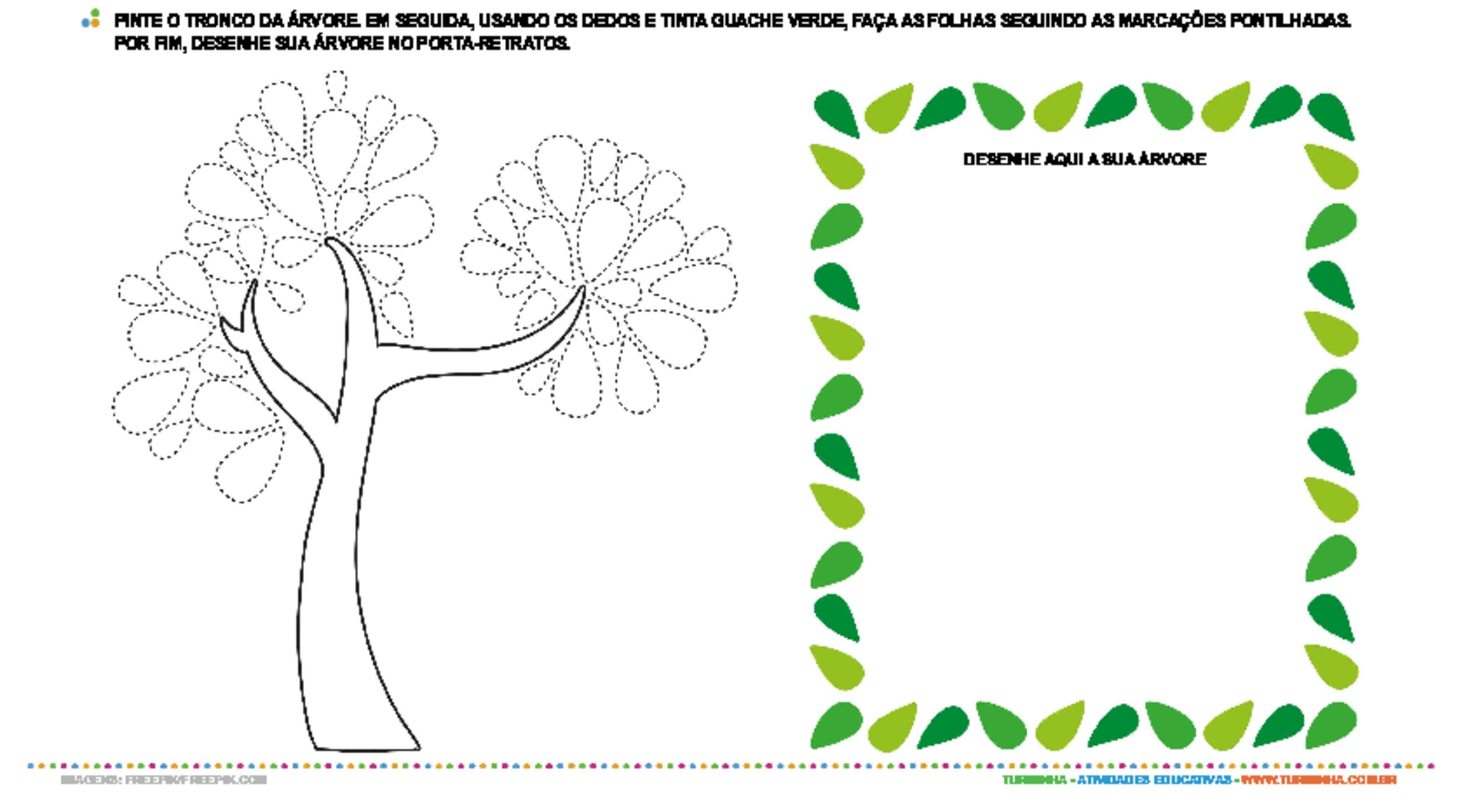 Árvore com digitais - atividade educativa para Pré-Escola (4 e 5 anos)