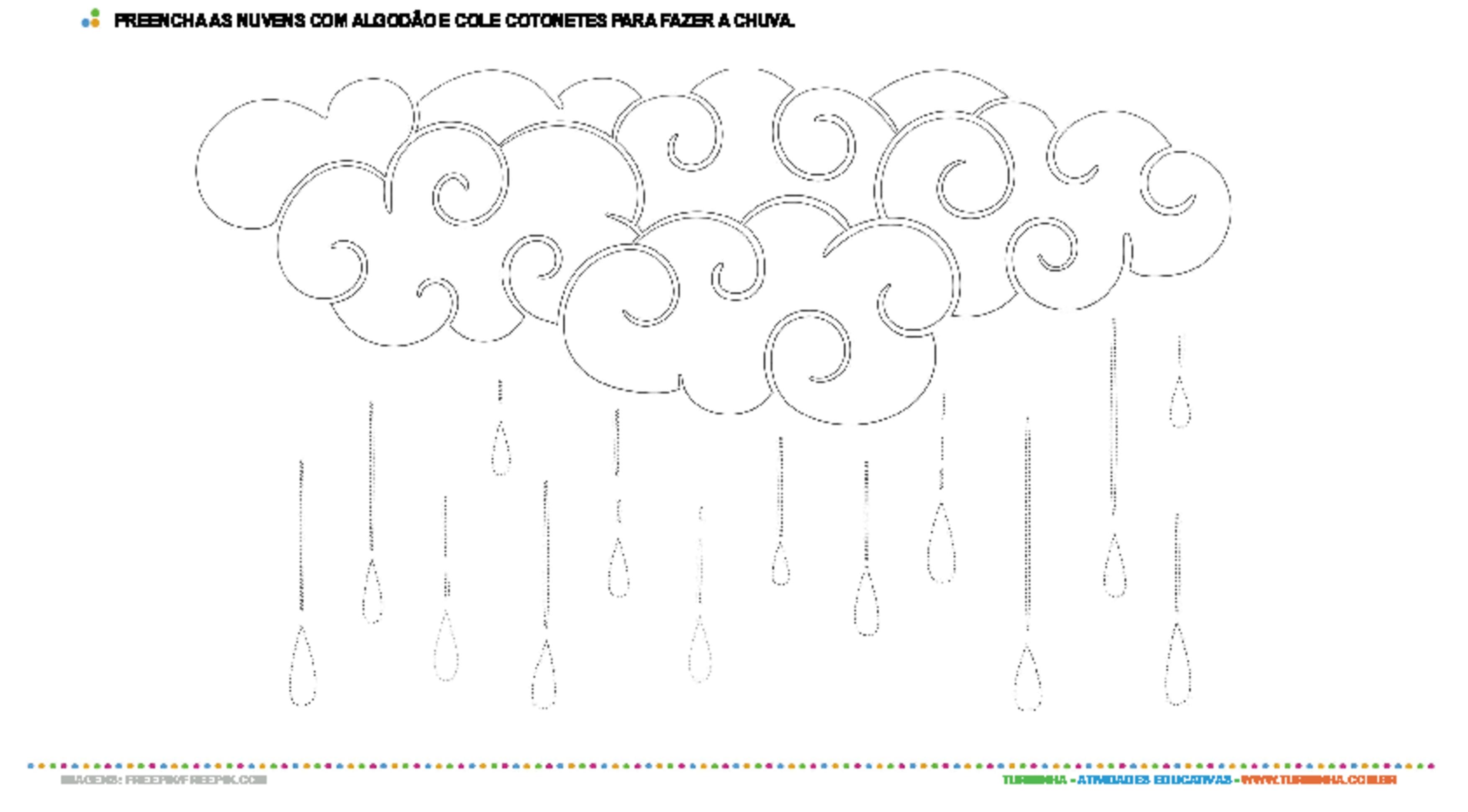 Colagem com algodão e cotonetes - nuvem - atividade educativa para Creche (0 a 3 anos)