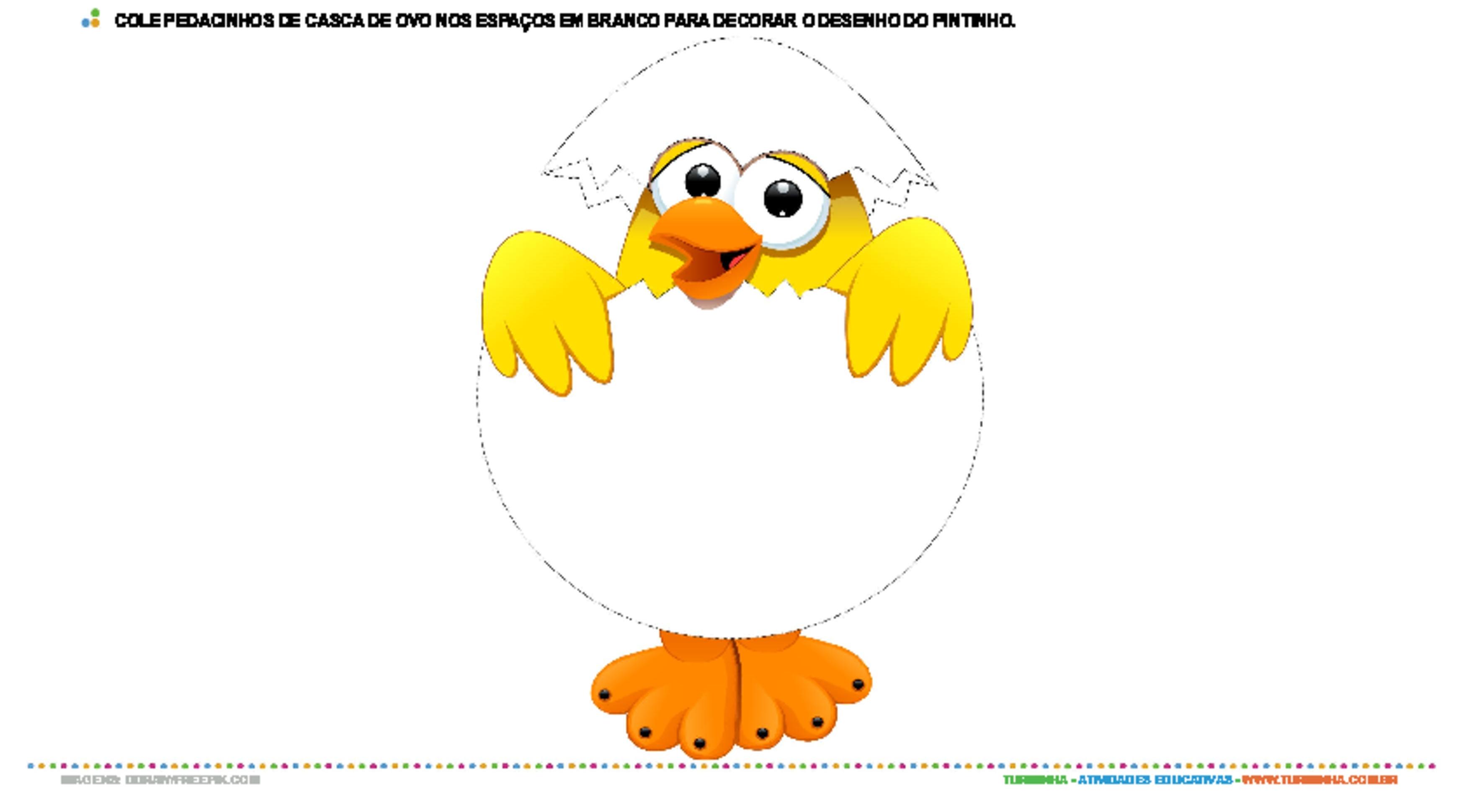 Colagem com casca de ovo - pintinho - atividade educativa para Creche (0 a 3 anos)