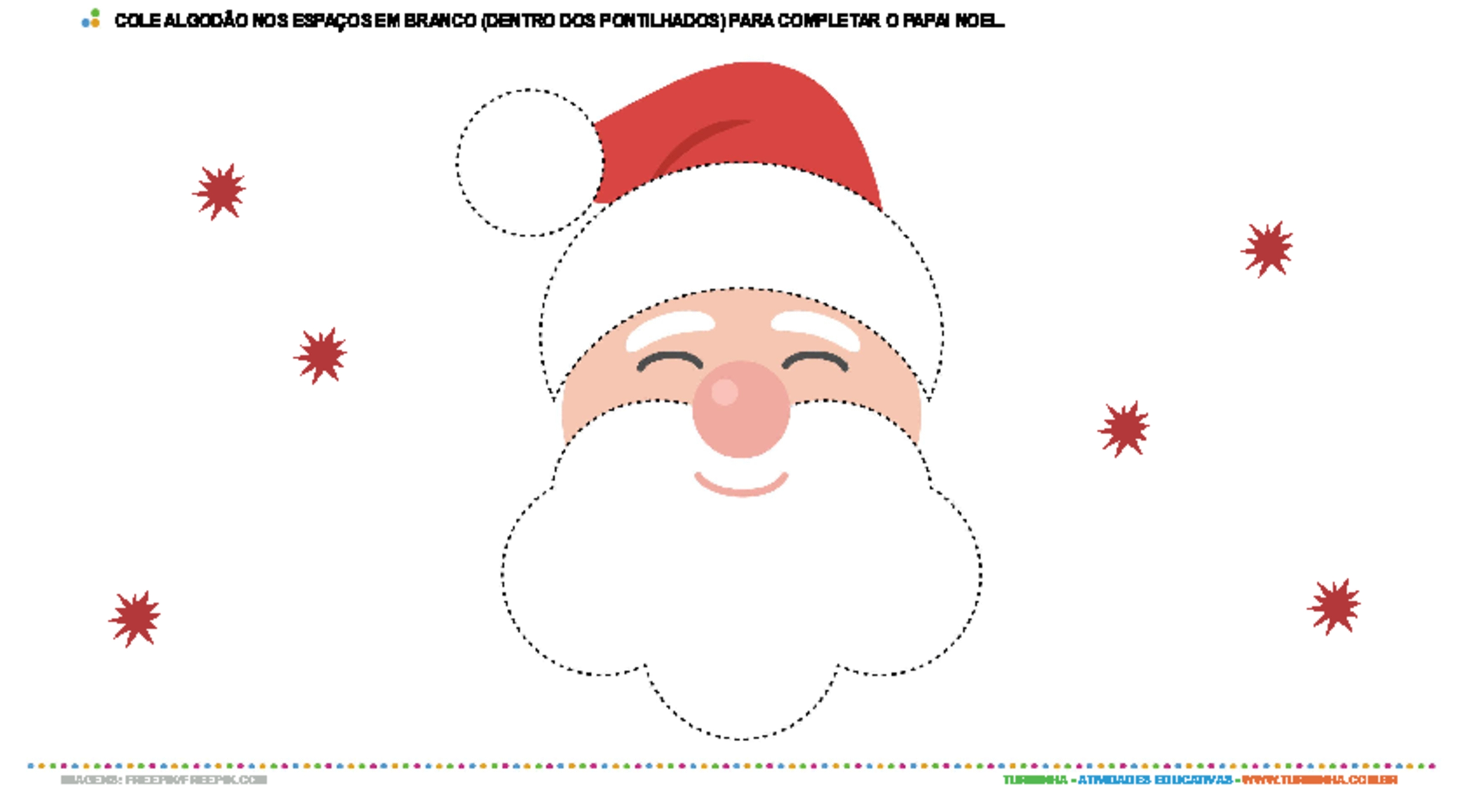 Colagem com algodão - Papai Noel - atividade educativa para Creche (0 a 3 anos)