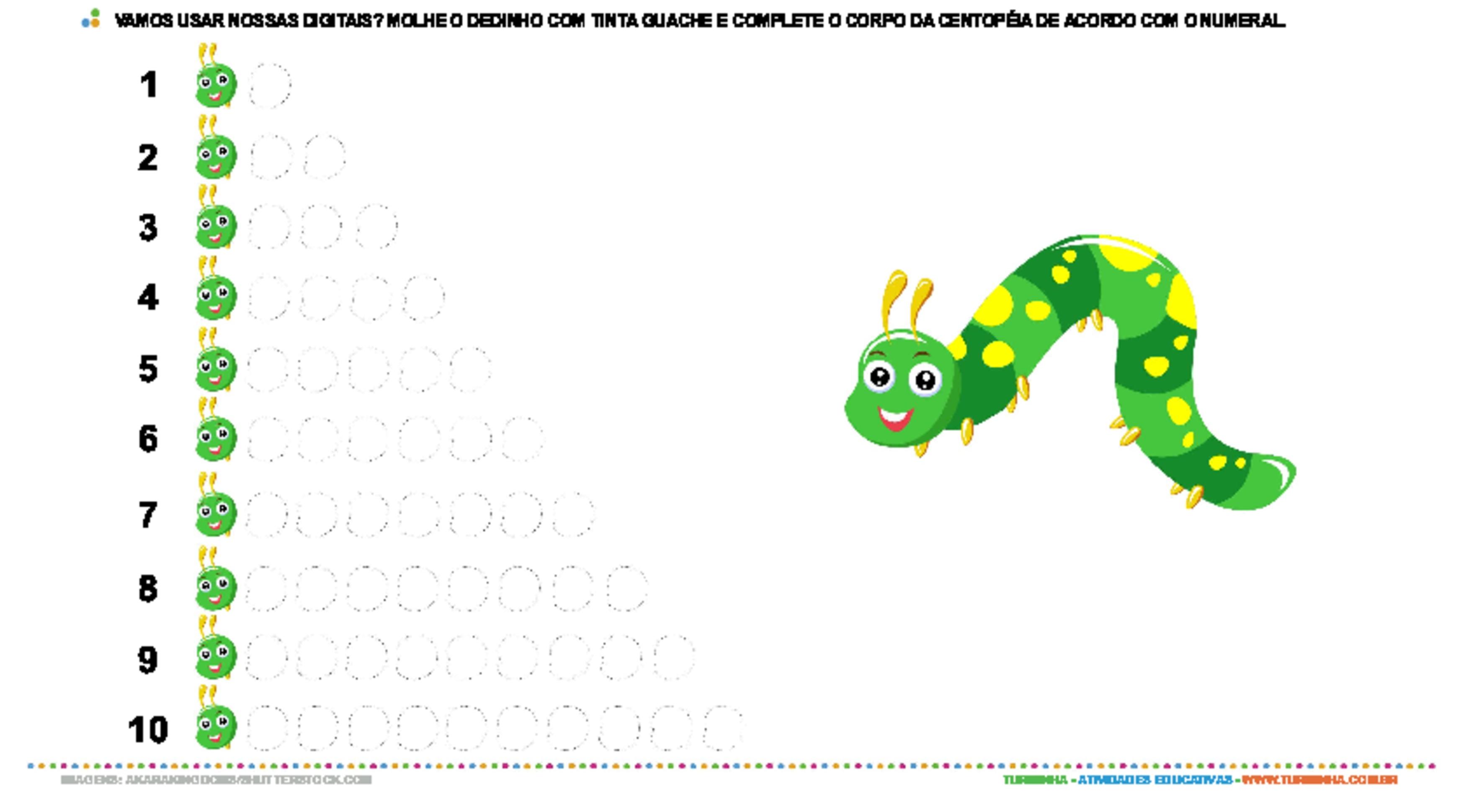 Centopeia com dedinhos de tinta - atividade educativa para Pré-Escola (4 e 5 anos)