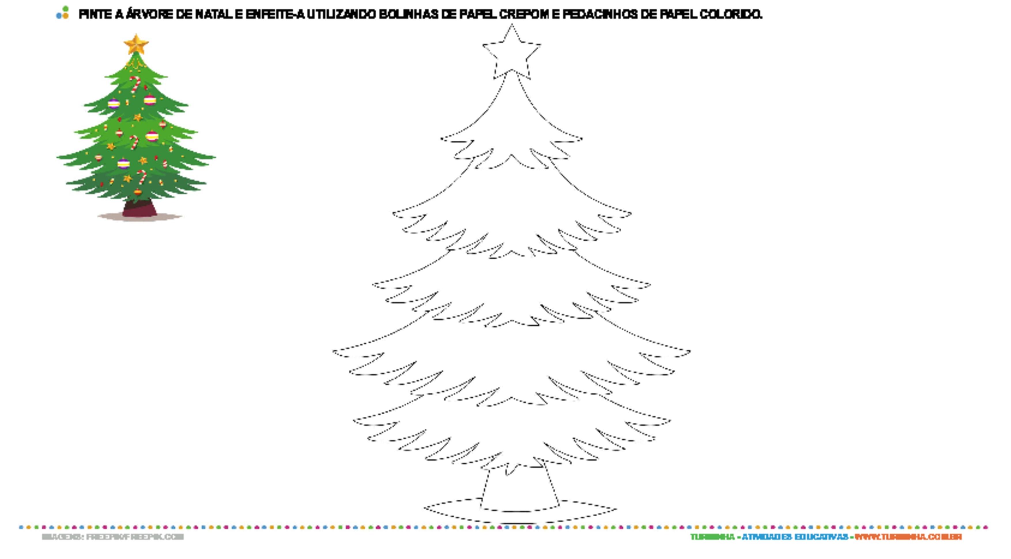 Pintura e colagem - Árvore de Natal - atividade educativa para Pré-Escola (4 e 5 anos)