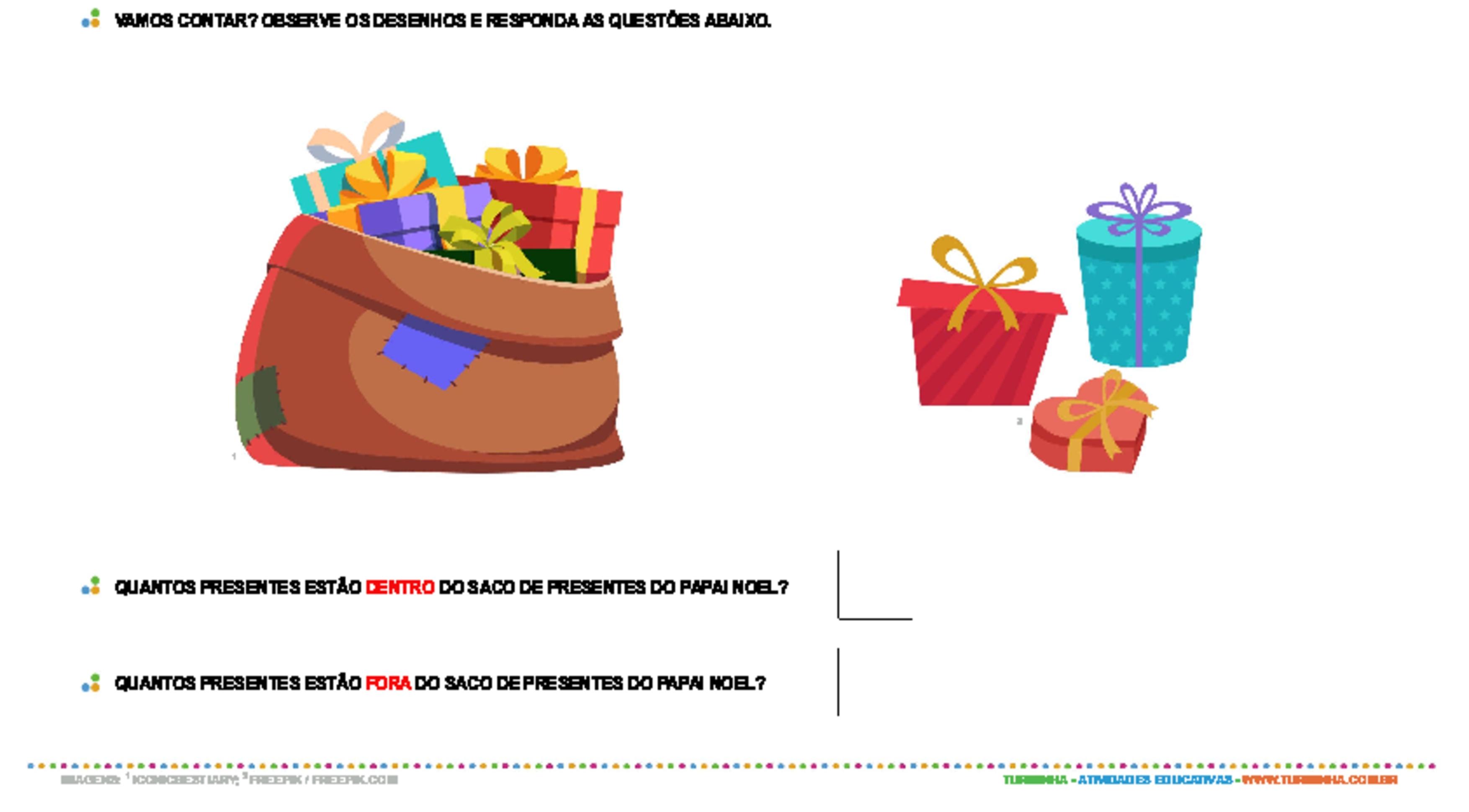 Dentro e fora - Natal - atividade educativa para Pré-Escola (4 e 5 anos)