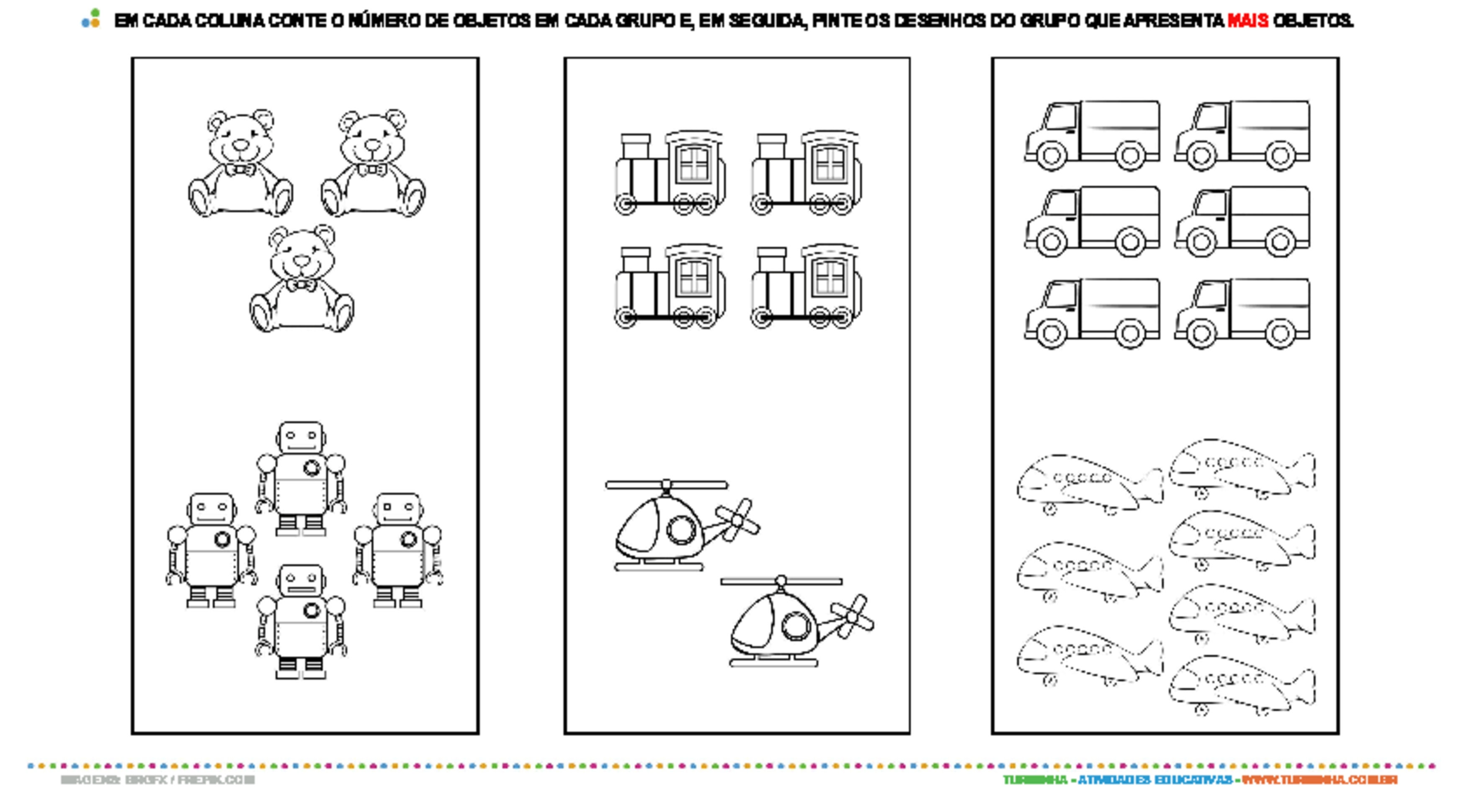 Contagem - Menos ou Mais? - atividade educativa para Pré-Escola (4 e 5 anos)