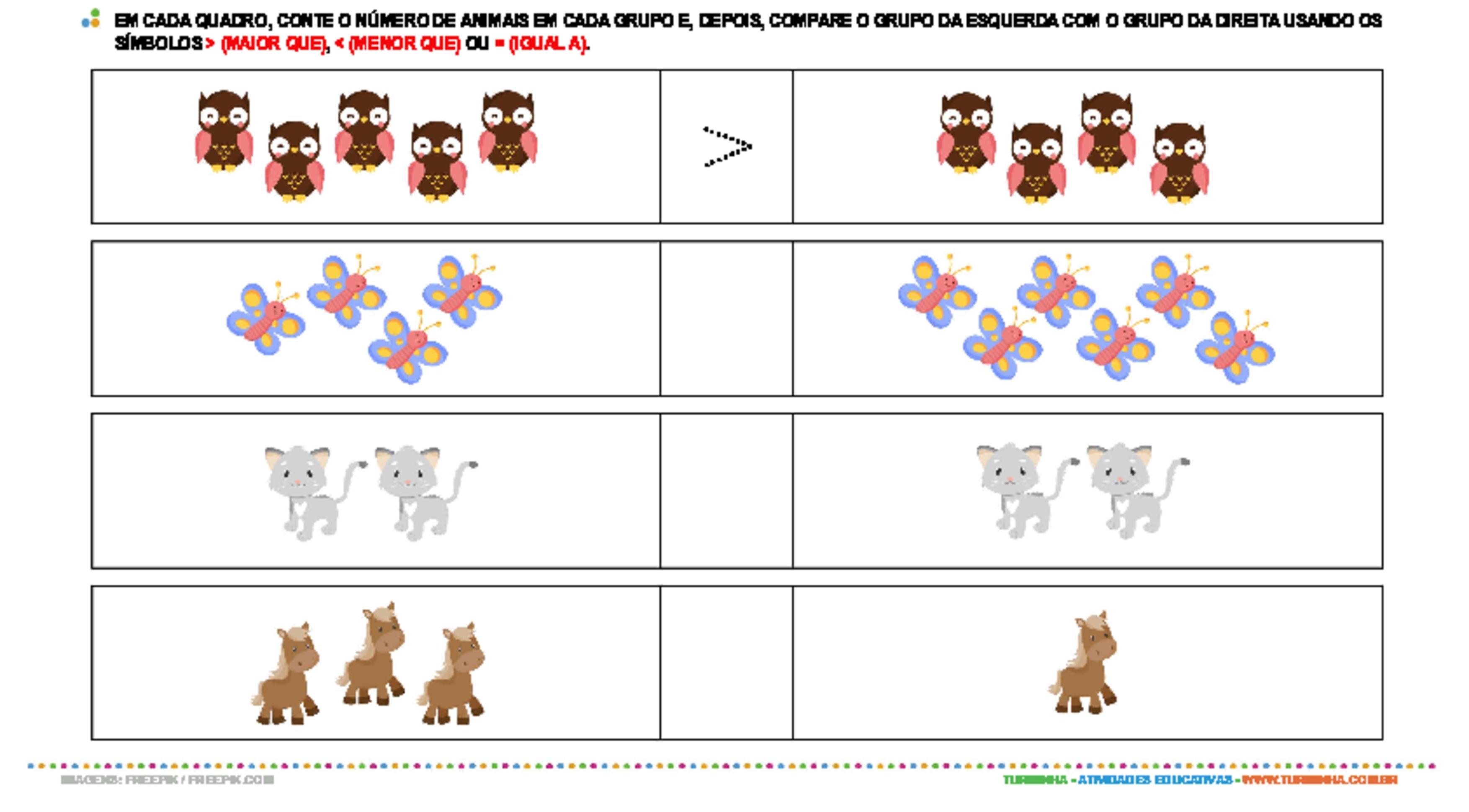 Comparação - Maior, Menor ou Igual - atividade educativa para Pré-Escola (4 e 5 anos)