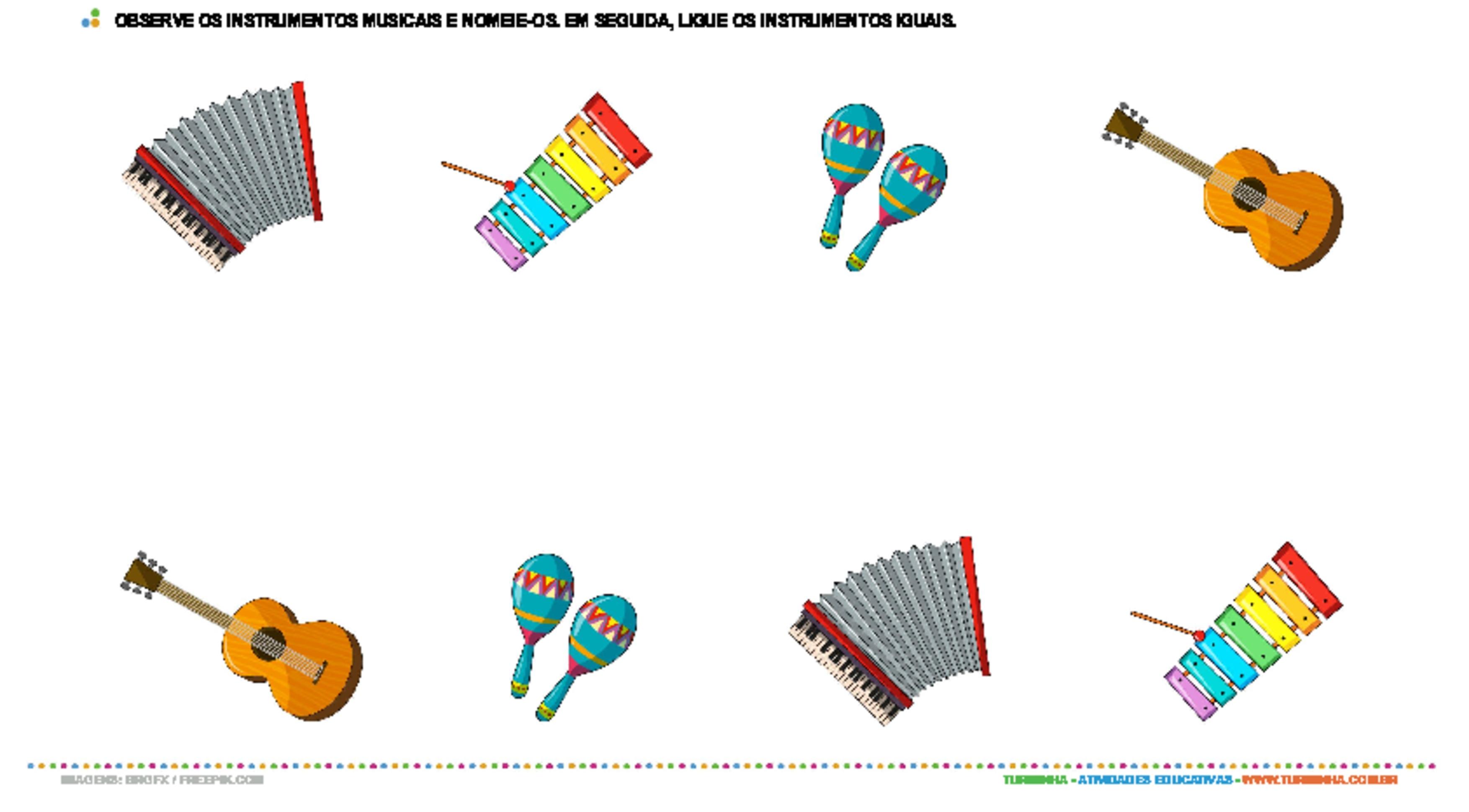 Ligando os instrumentos musicais iguais - atividade educativa para Pré-Escola (4 e 5 anos)
