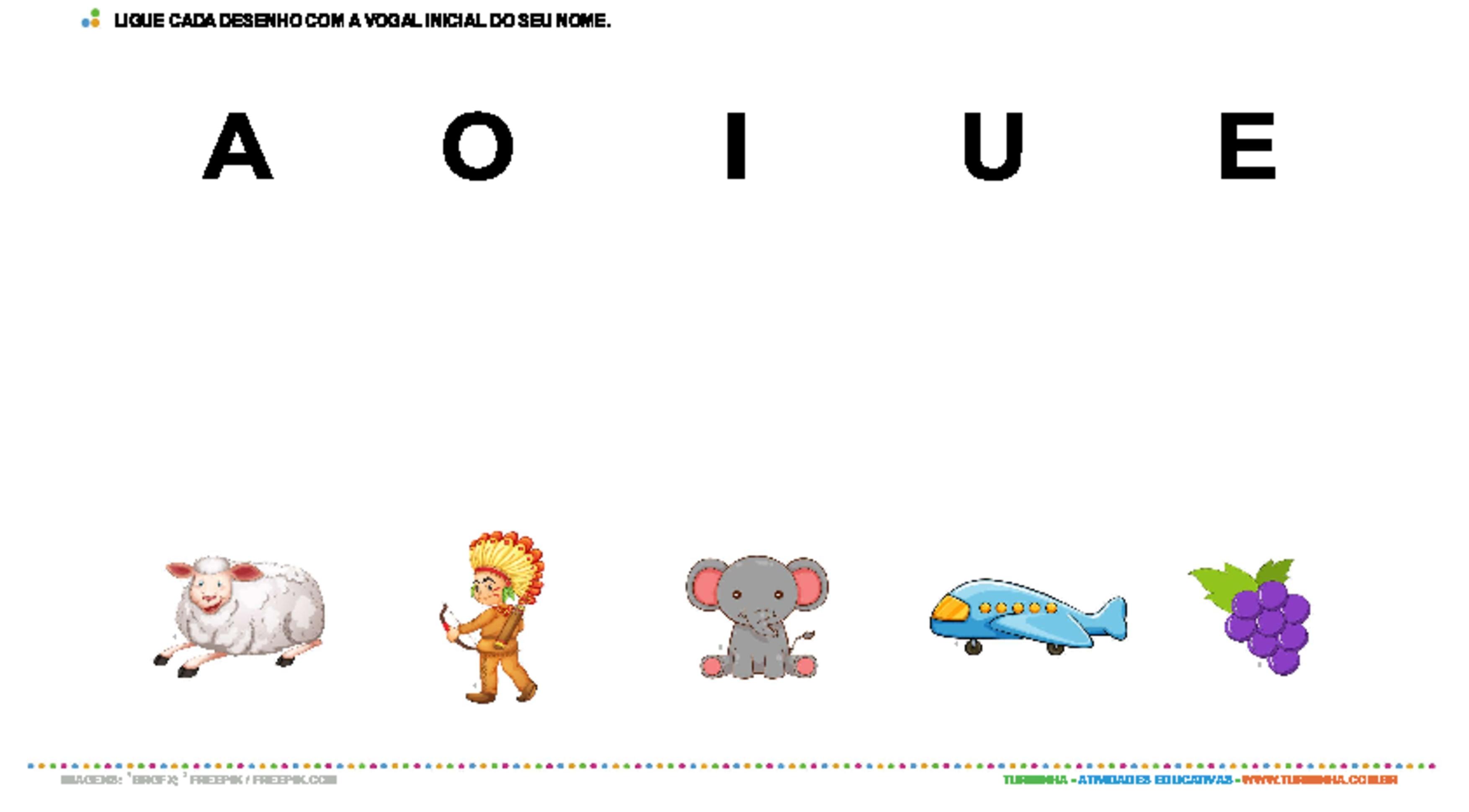 Vogais - atividade educativa para Pré-Escola (4 e 5 anos)
